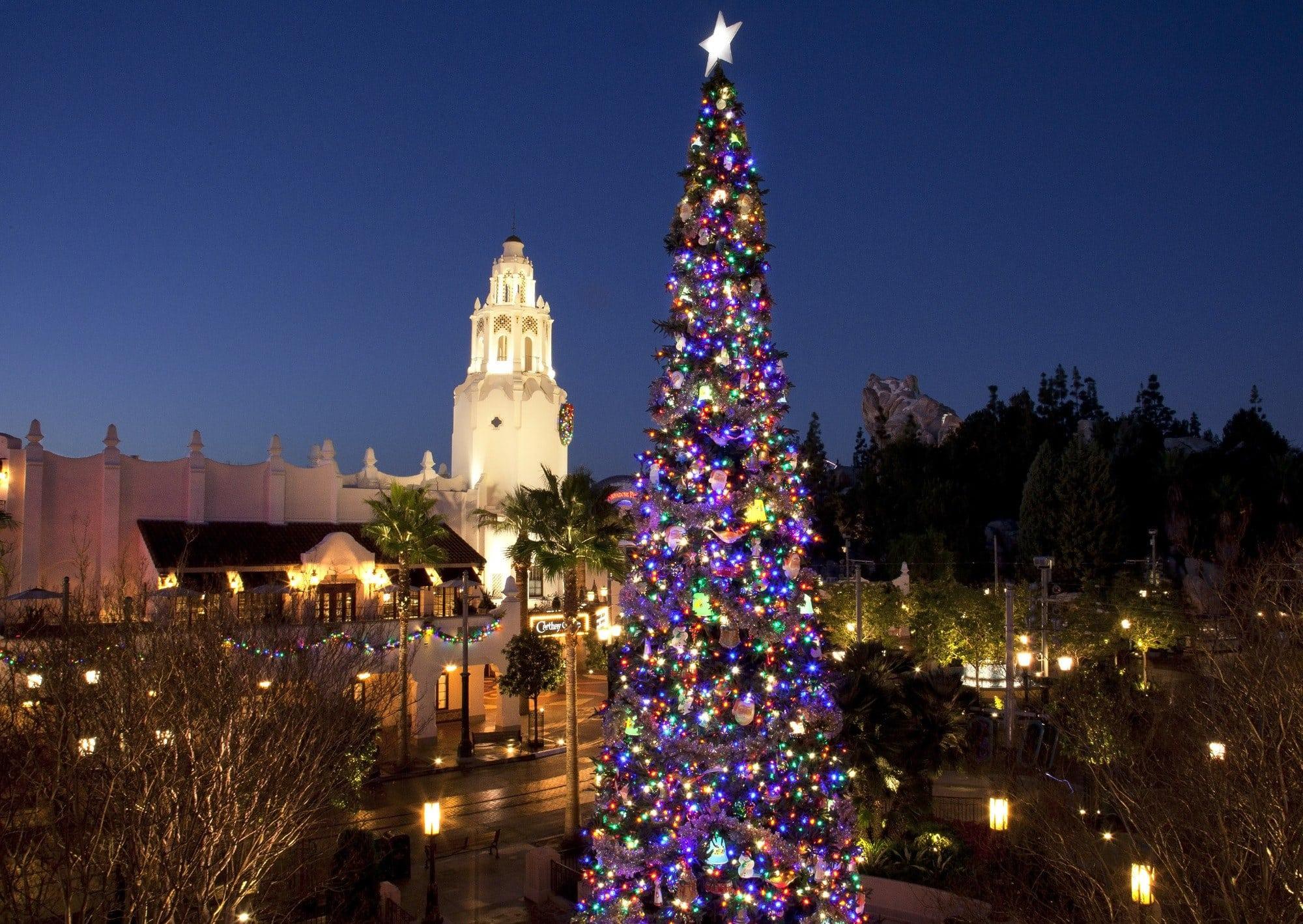 Christmas tree at Disney California Adventure Park at Disneyland during the holidays