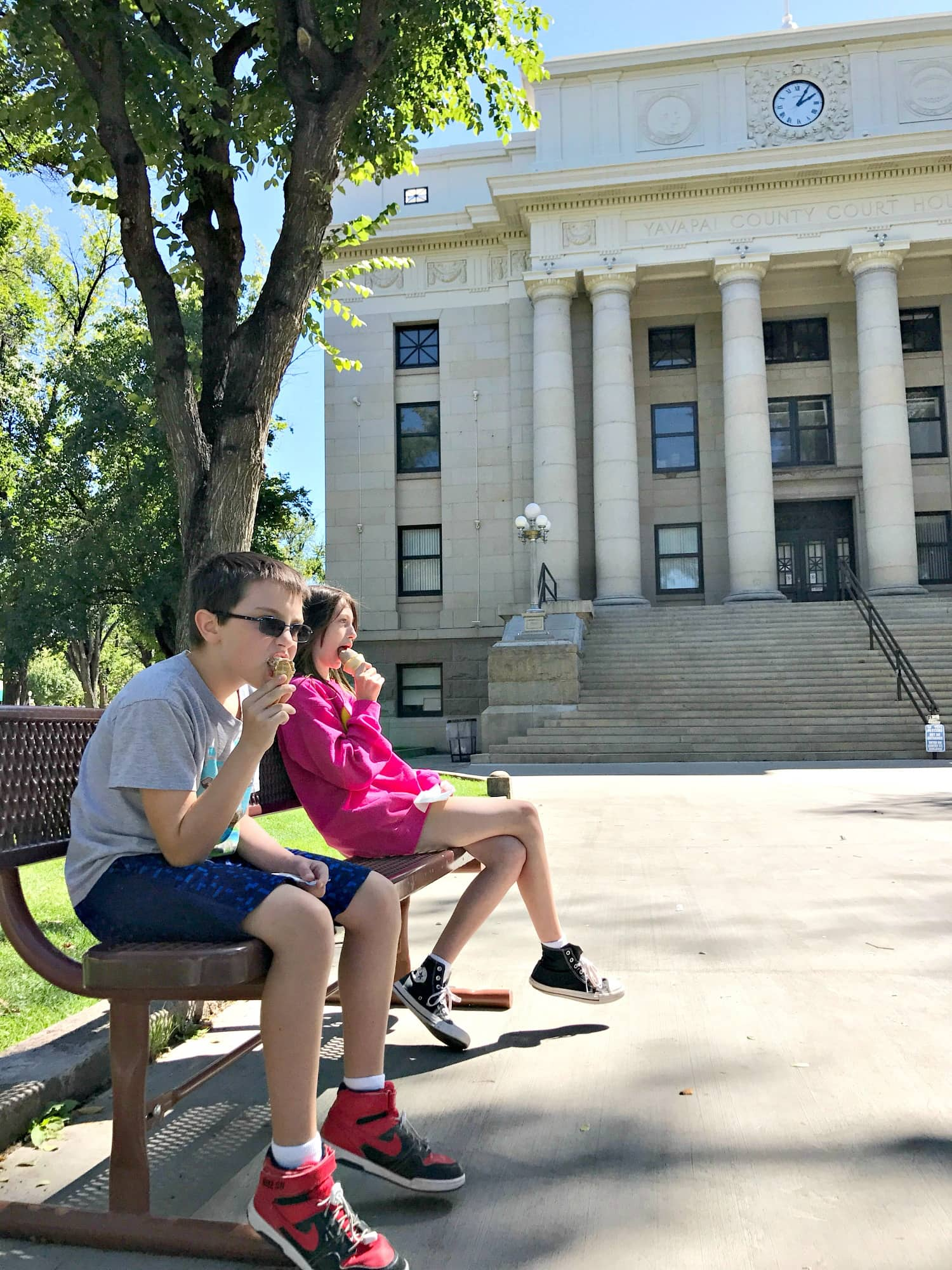Courthouse Square is the perfect place to play sit on a bench and watch the world go by in Prescott with kids