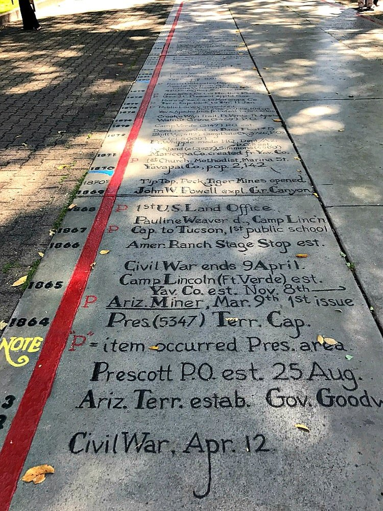 This timeline in front of the courthouse teaches the history of Prescott