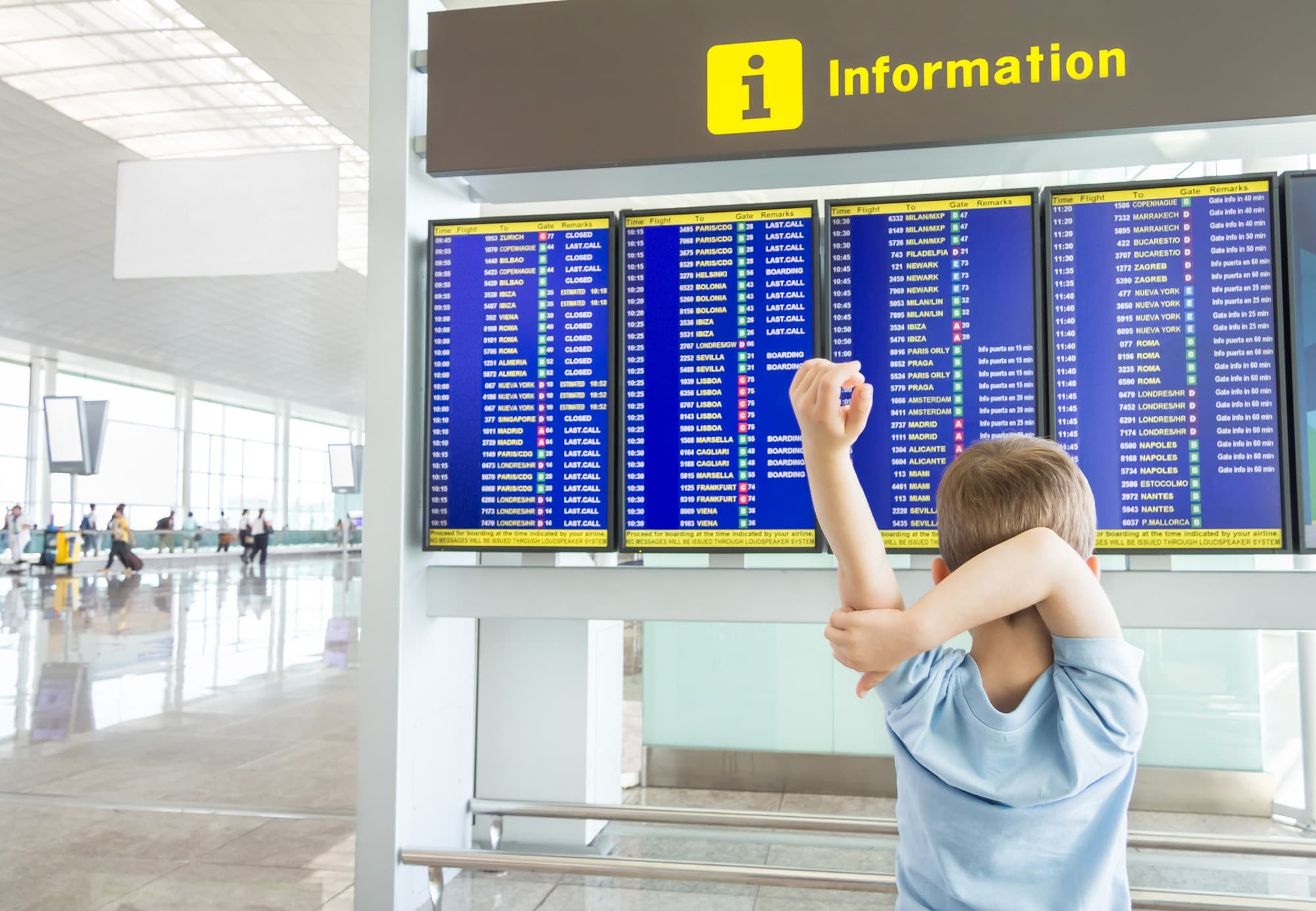 Arrive early at the airport when traveling with kids