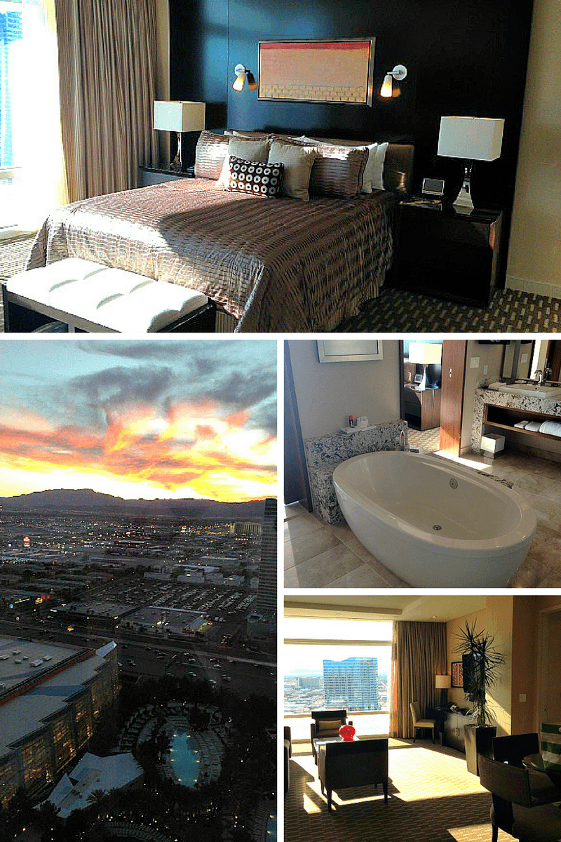 Aria Sky Suite bedroom, bath tub, living area and sunset view