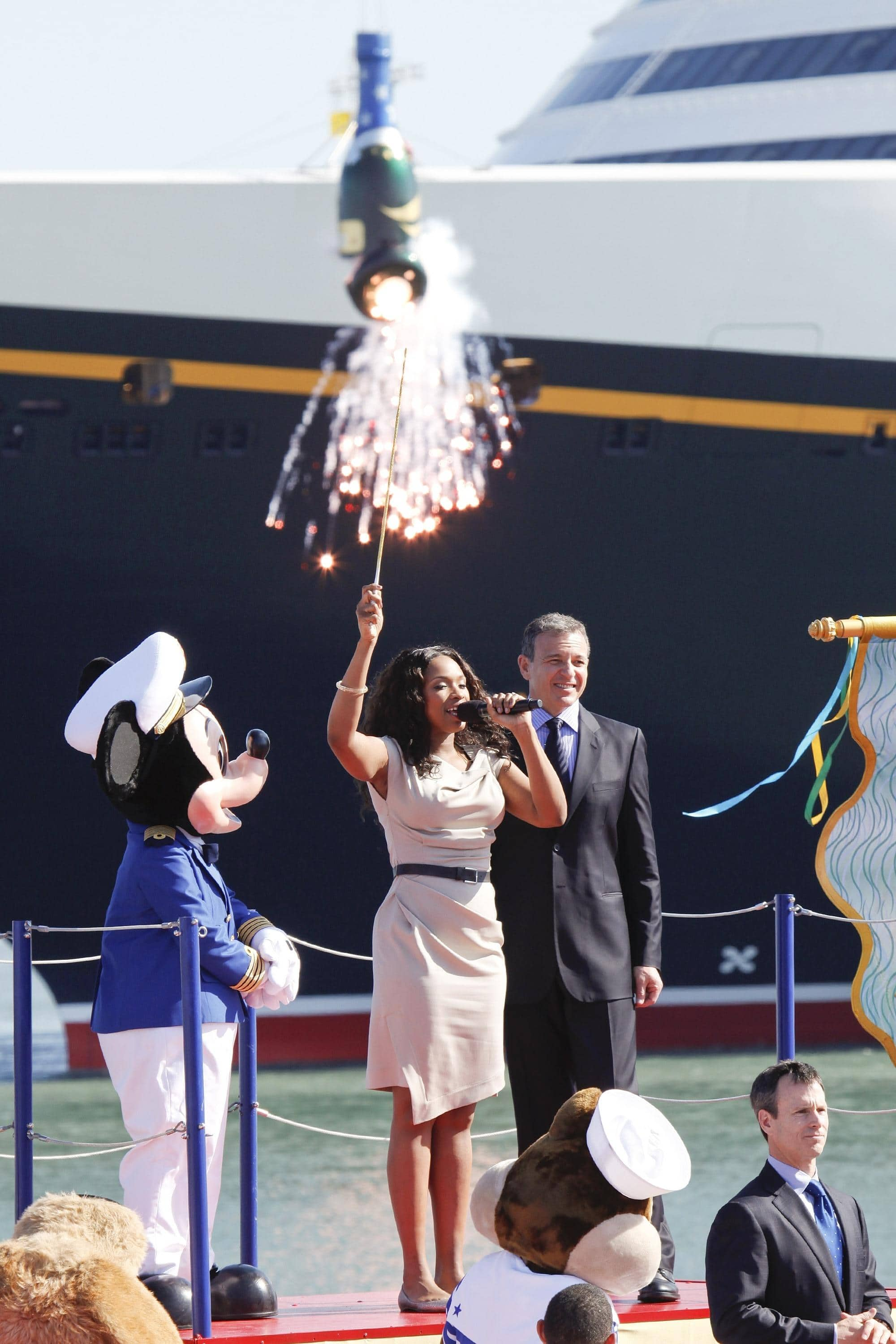Mickey Mouse, Disney Dream Fairy Godmother Jennifer Hudson and Disney CEO Bob Iger at Disney Dream christening ceremony