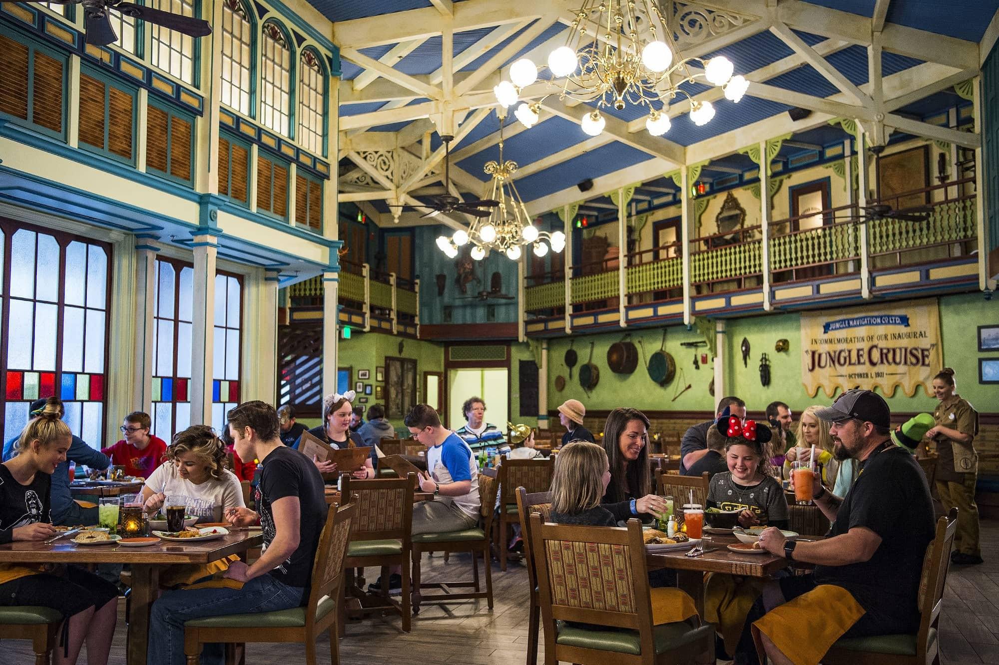 Teens and tweens may enjoy the Asian, South American and African cuisine offered at Jungle Navigation Co. Ltd. Skipper Canteen restaurant at Magic Kingdom ~ Disney World with Teens and Tweens