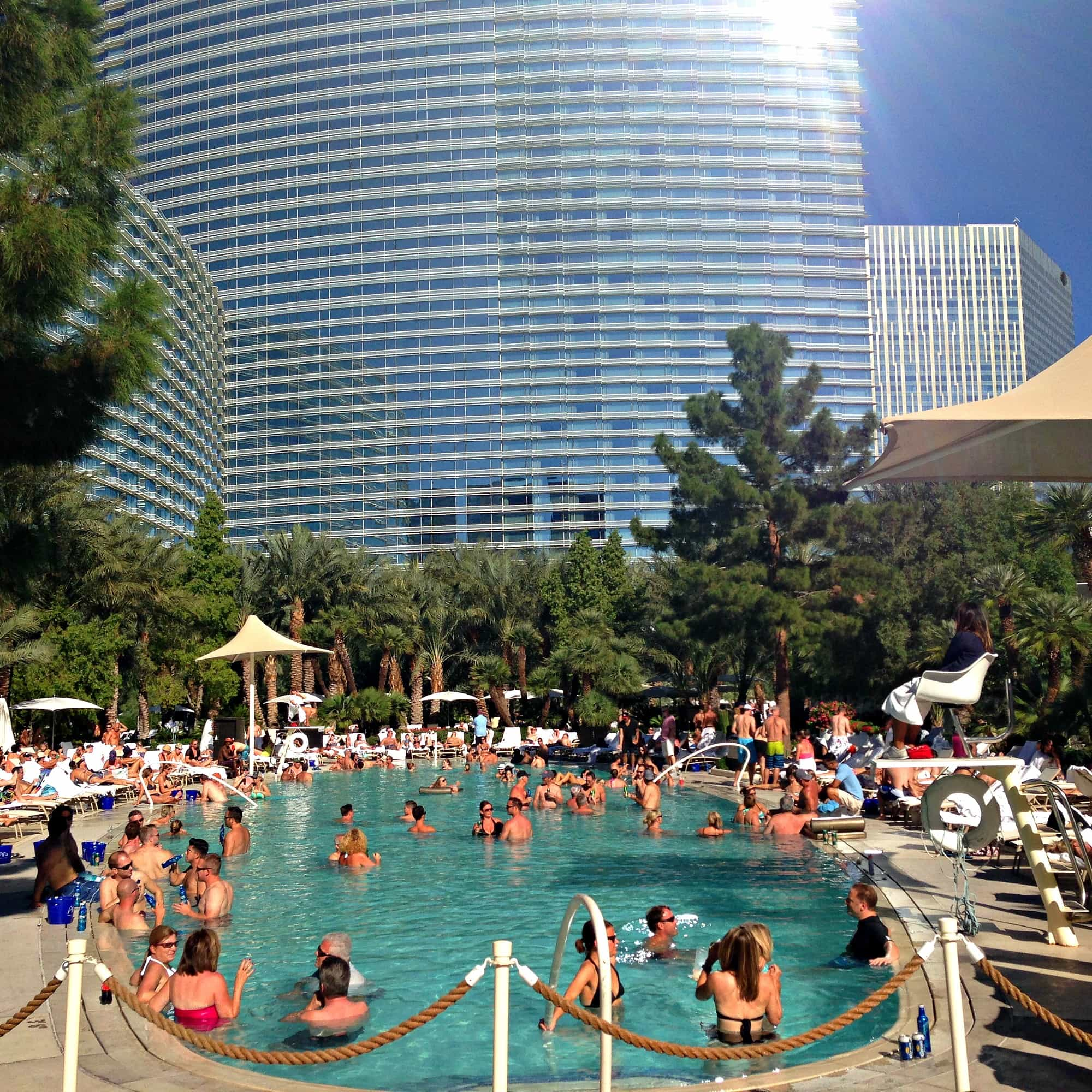 Chill out at the Aria pool with your girlfriends in Las Vegas