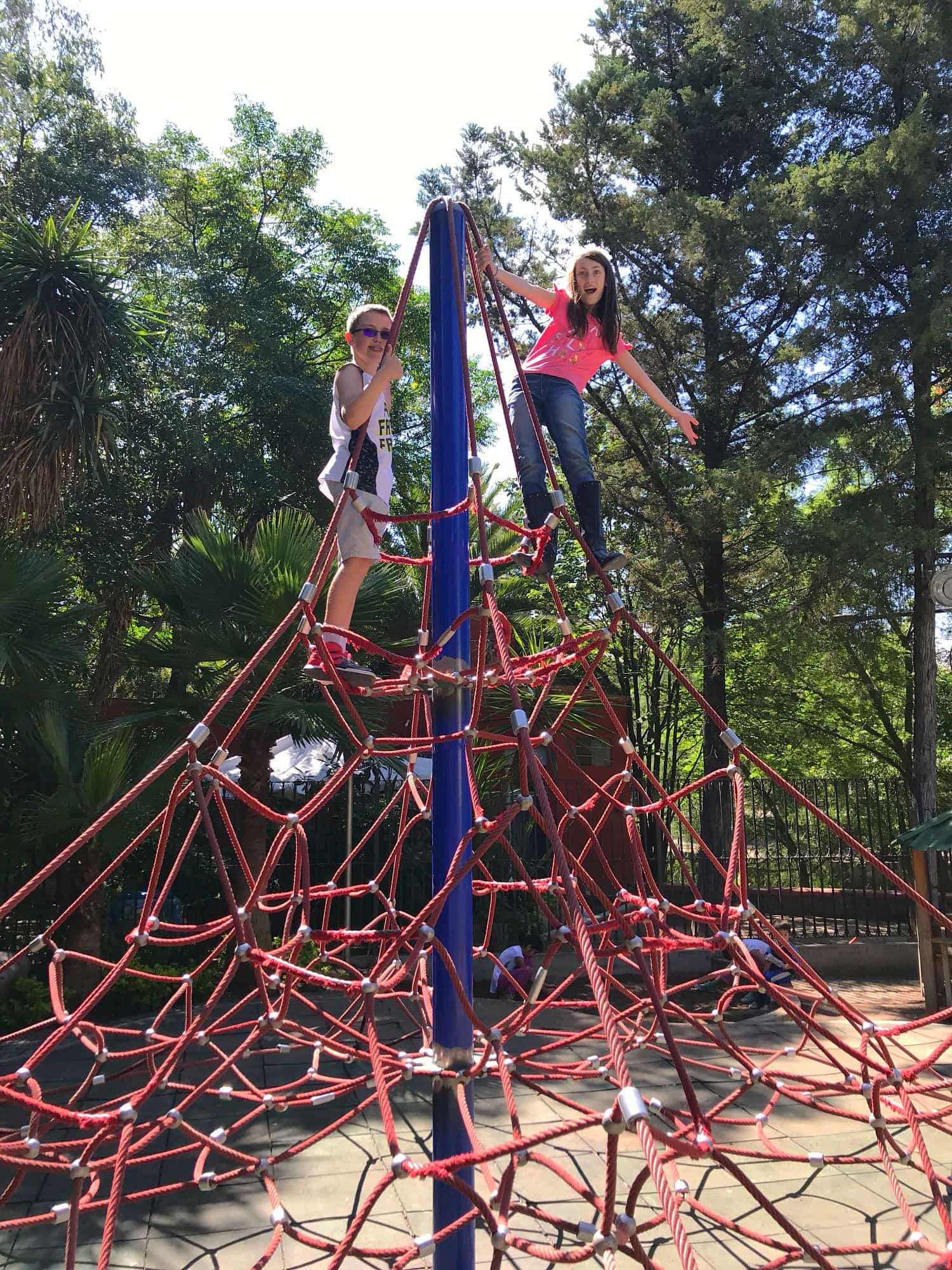My kids loved the climbing structure in the playground at Parque Benito Juarez