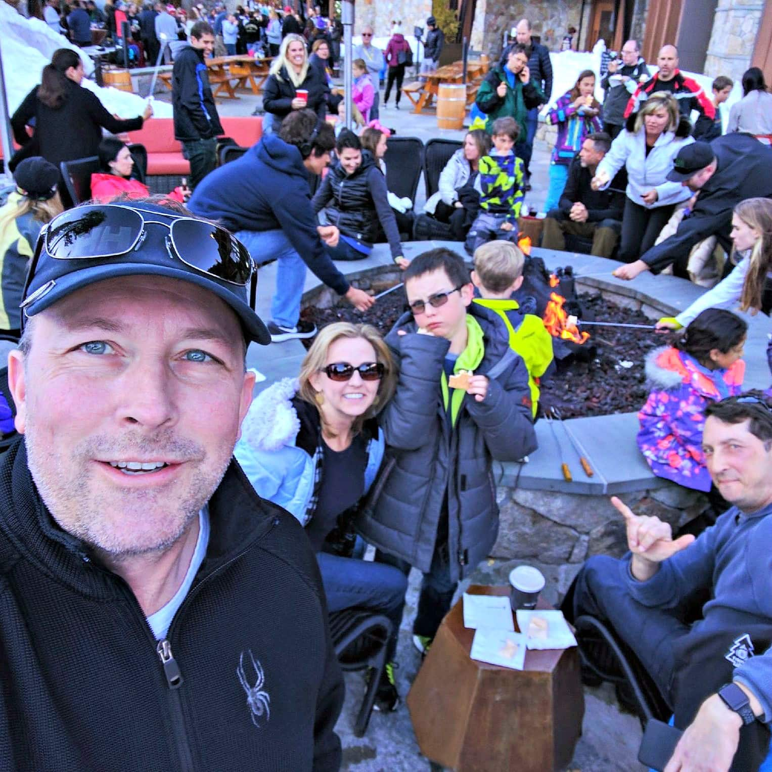 A family selfie at Northstar Ski Resort with kids