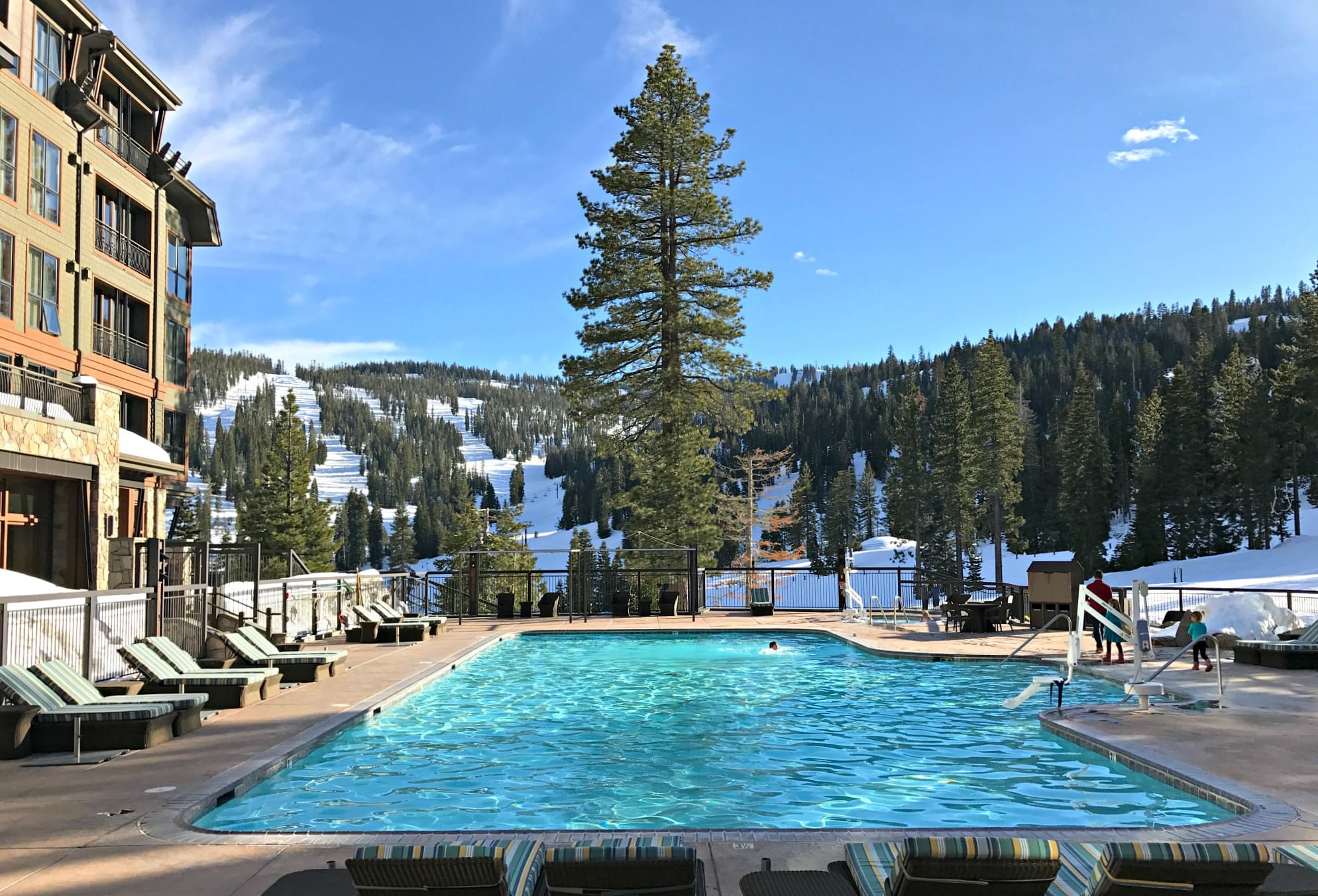 How'd you like to go for a dip in this heated pool at The Ritz-Carlton, Lake Tahoe at Northstar Ski Resort with kids?