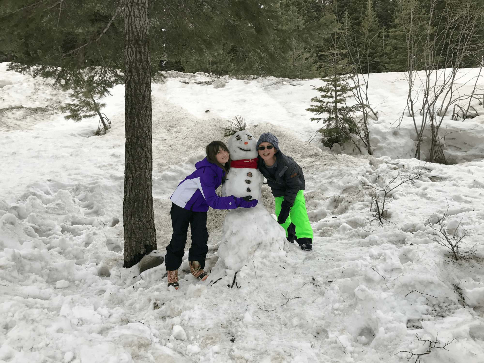 Building a snowman at our vacation rental home at Northstar Ski Resort with kids