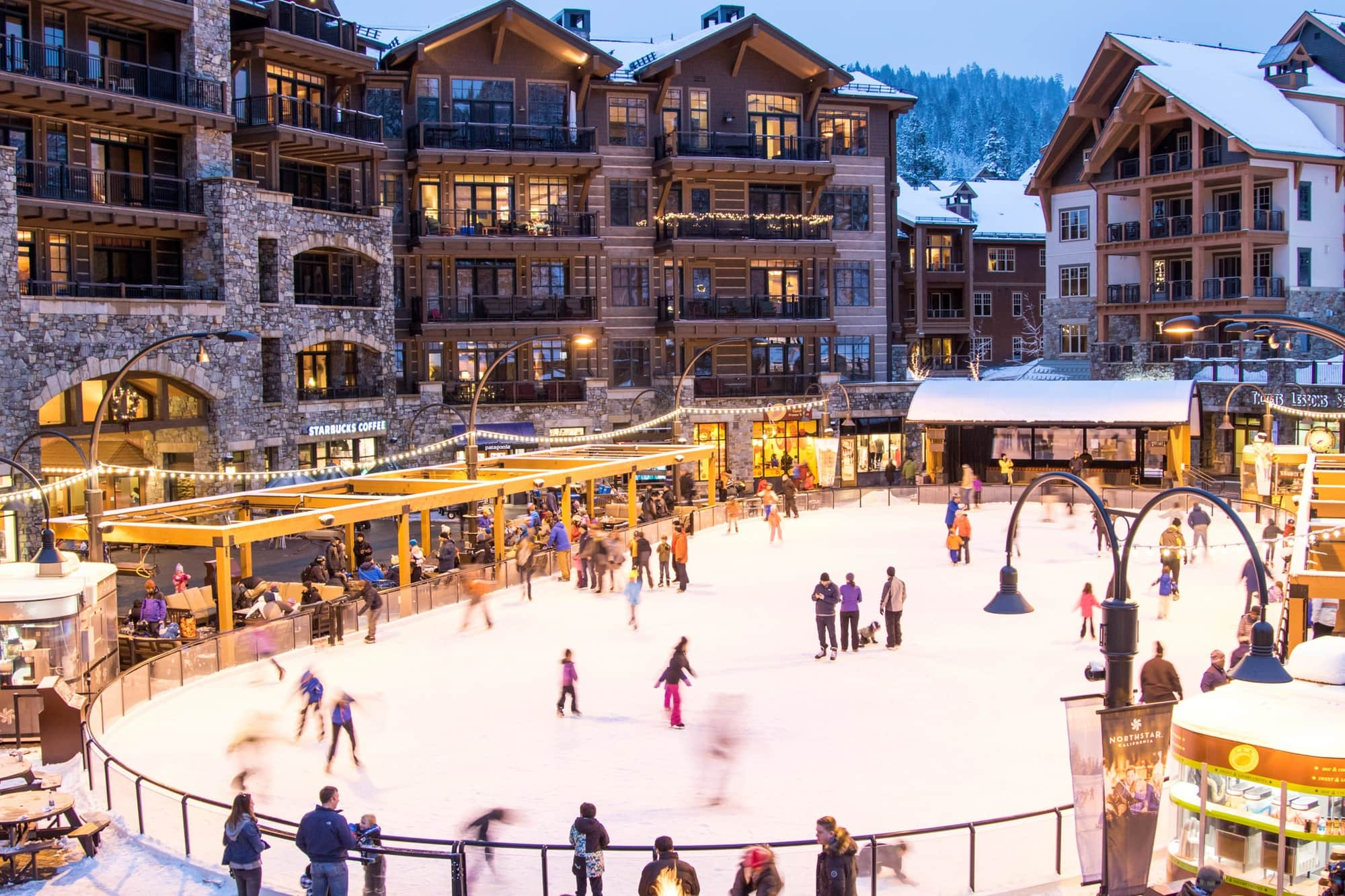 The beautiful Village at Northstar with kids