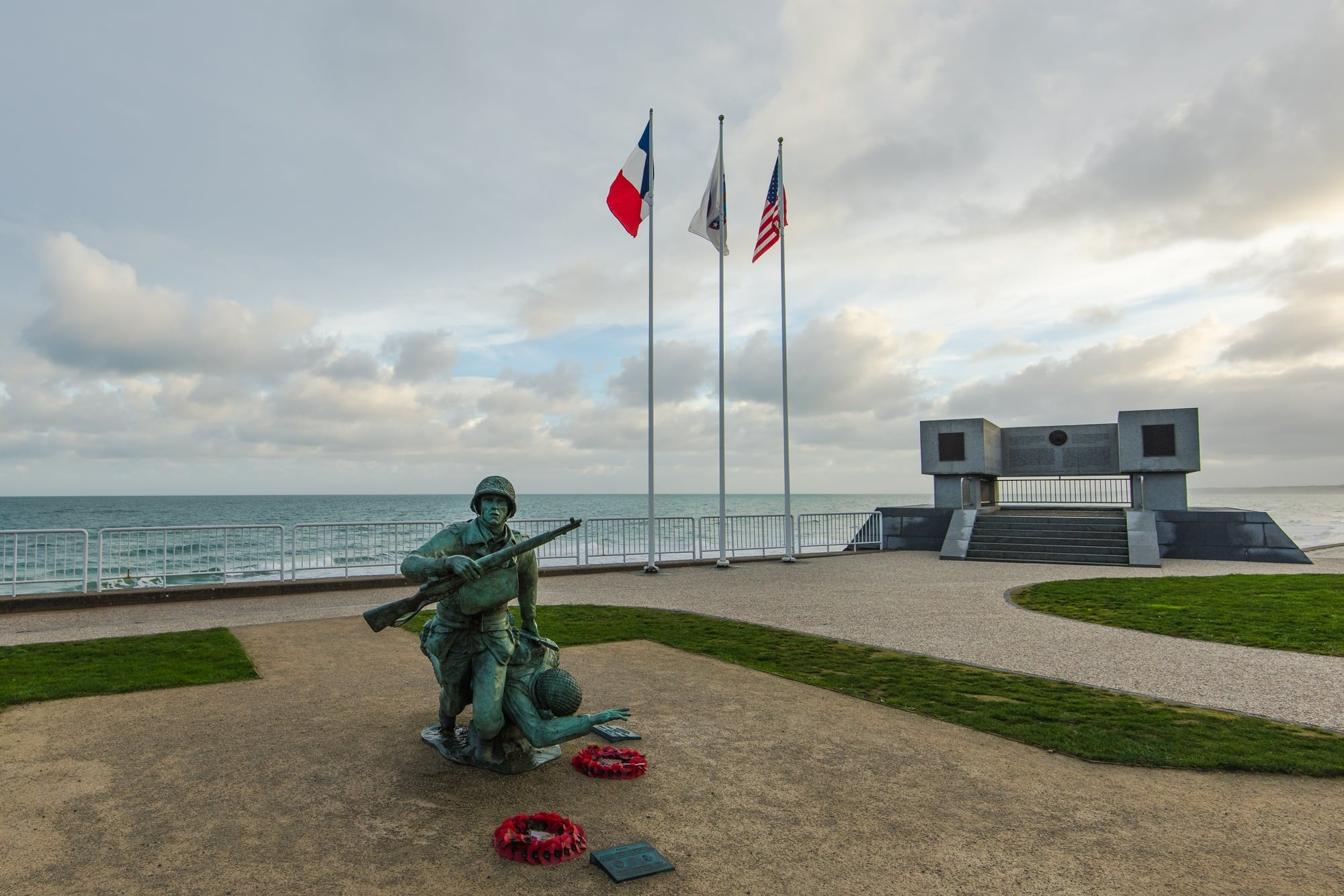 Omaha Beach War Memorial of fallen soldiers in Normandy, France ~ Best destinations in France for families