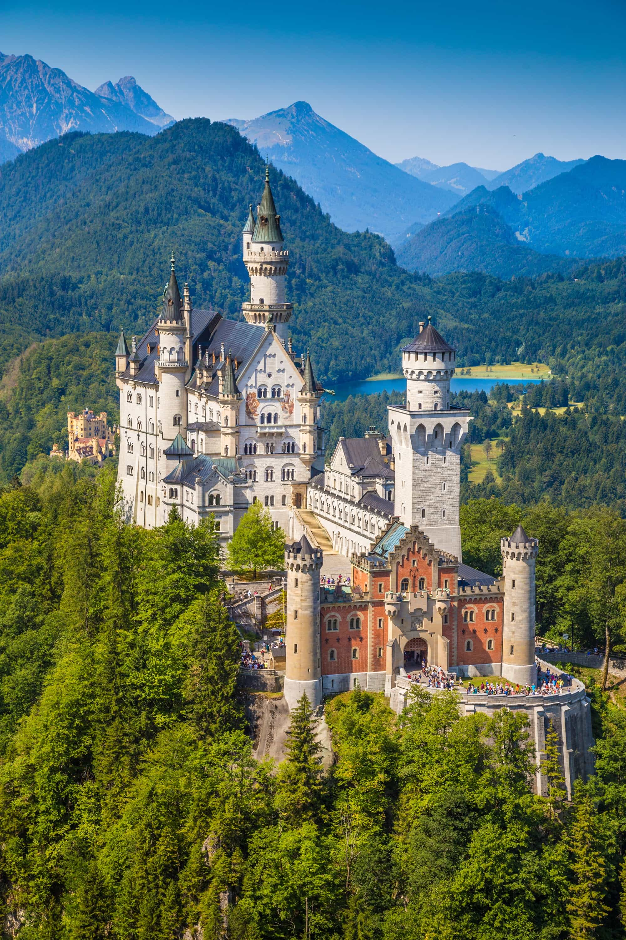 The world-famous Neuschwanstein Castle, the nineteenth-century Romanesque Revival palace built for King Ludwig II