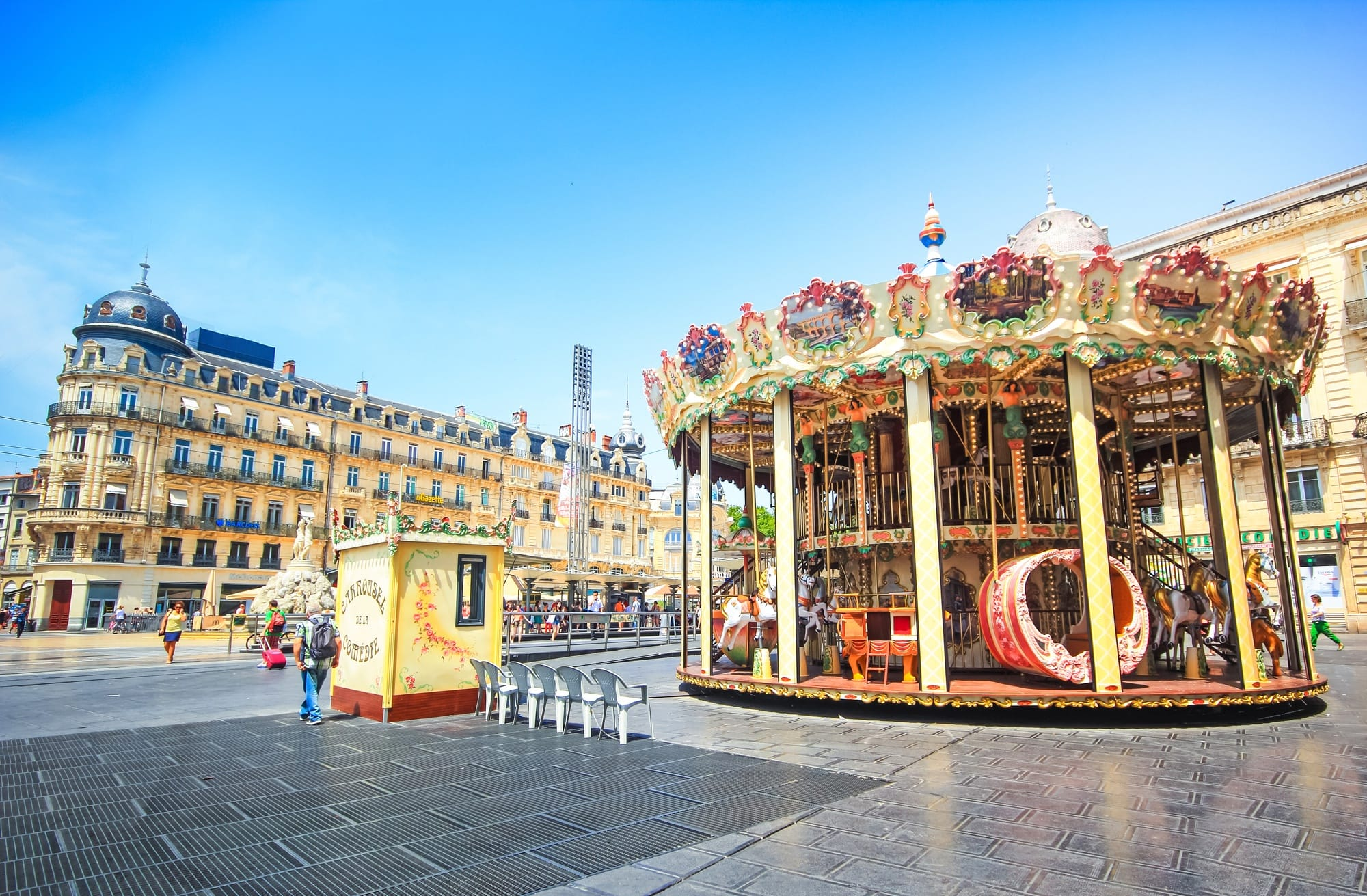Montpellier's beautiful central square, La Place de la Comedie and the carousel ~ Best destinations in France for families