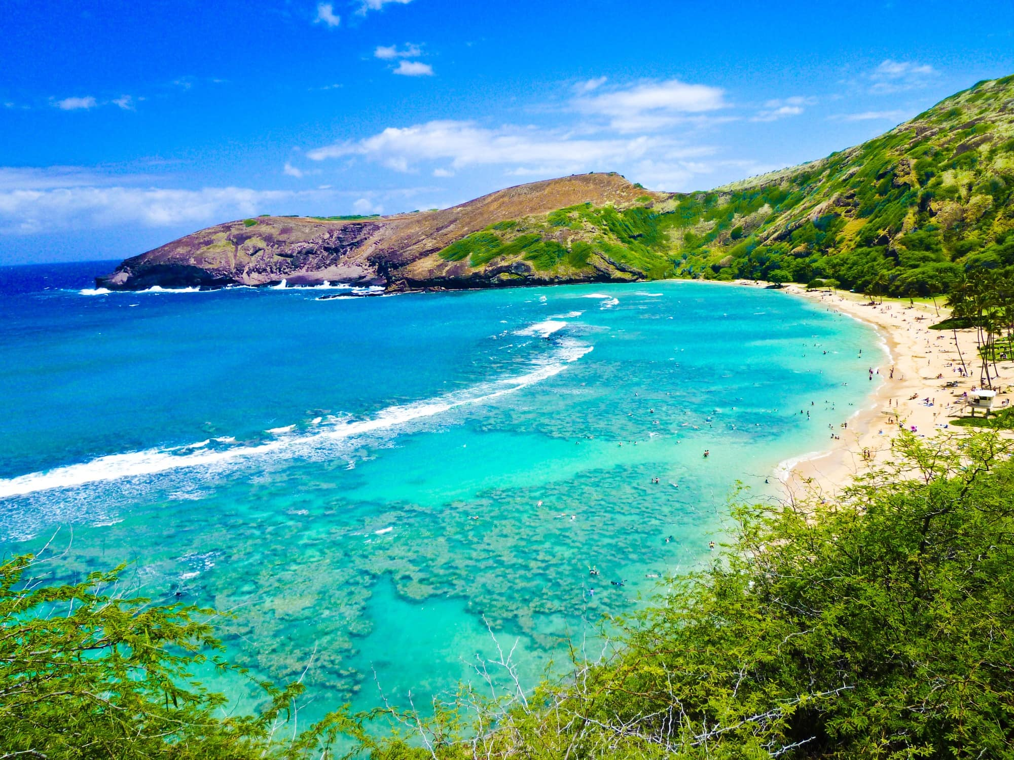 Beautiful Hanuama Bay is great for snorkeling on Oahu with kids