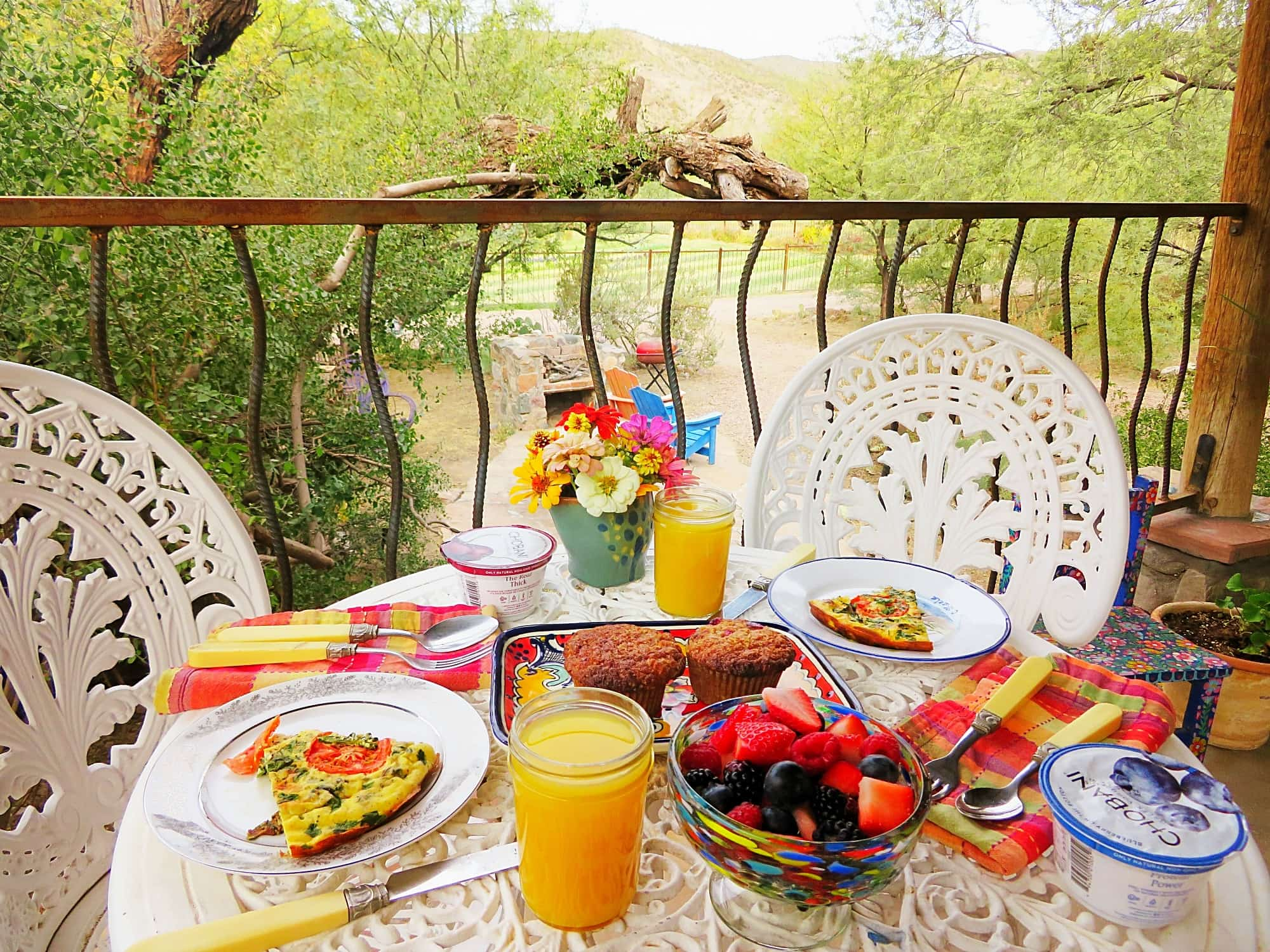 Our pretty alfresco breakfast at Aravaipa Farms Inn