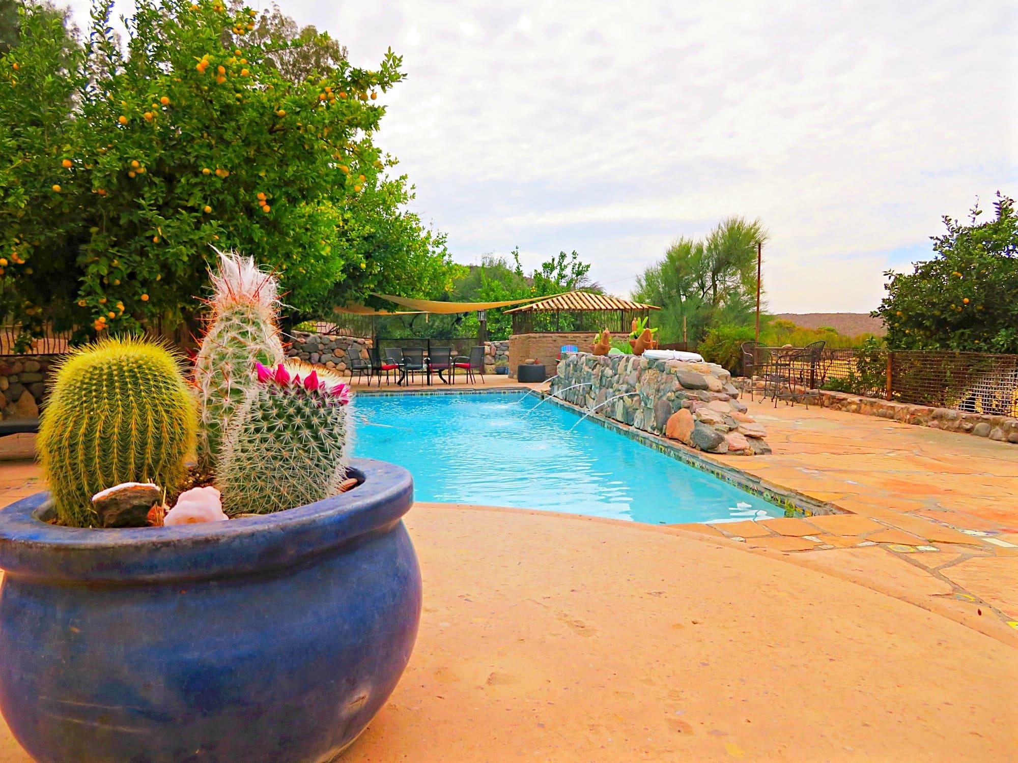 Aravaipa Farms Inn's pool makes a pretty oasis in the desert