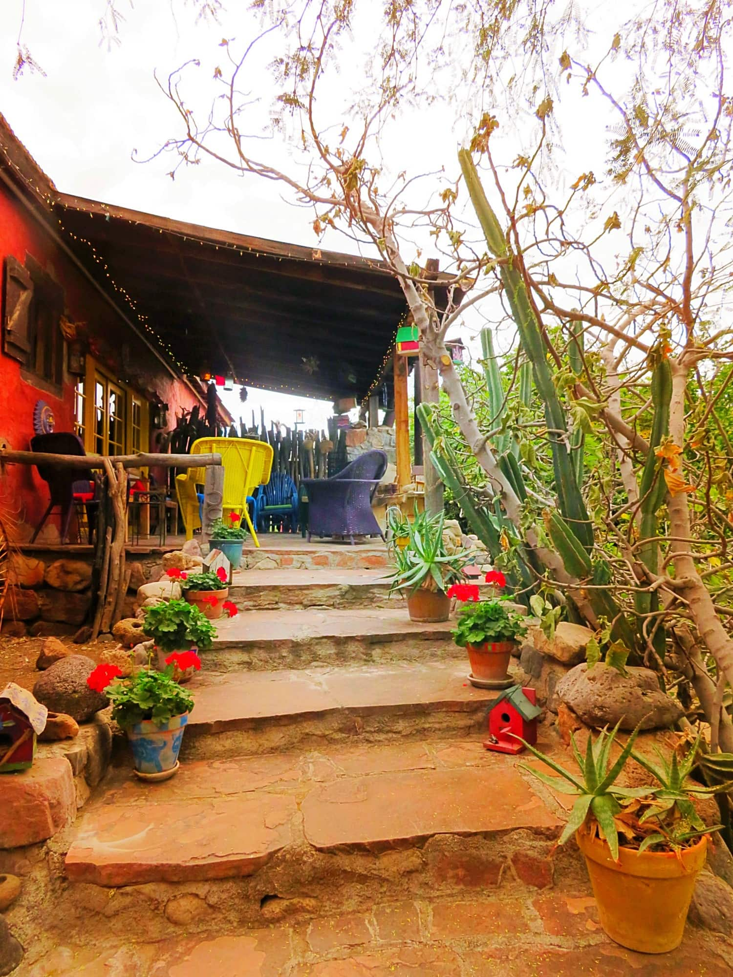 Gather on the patio at the dining room to enjoy a drink and chat with other guests at Aravaipa Farms Inn