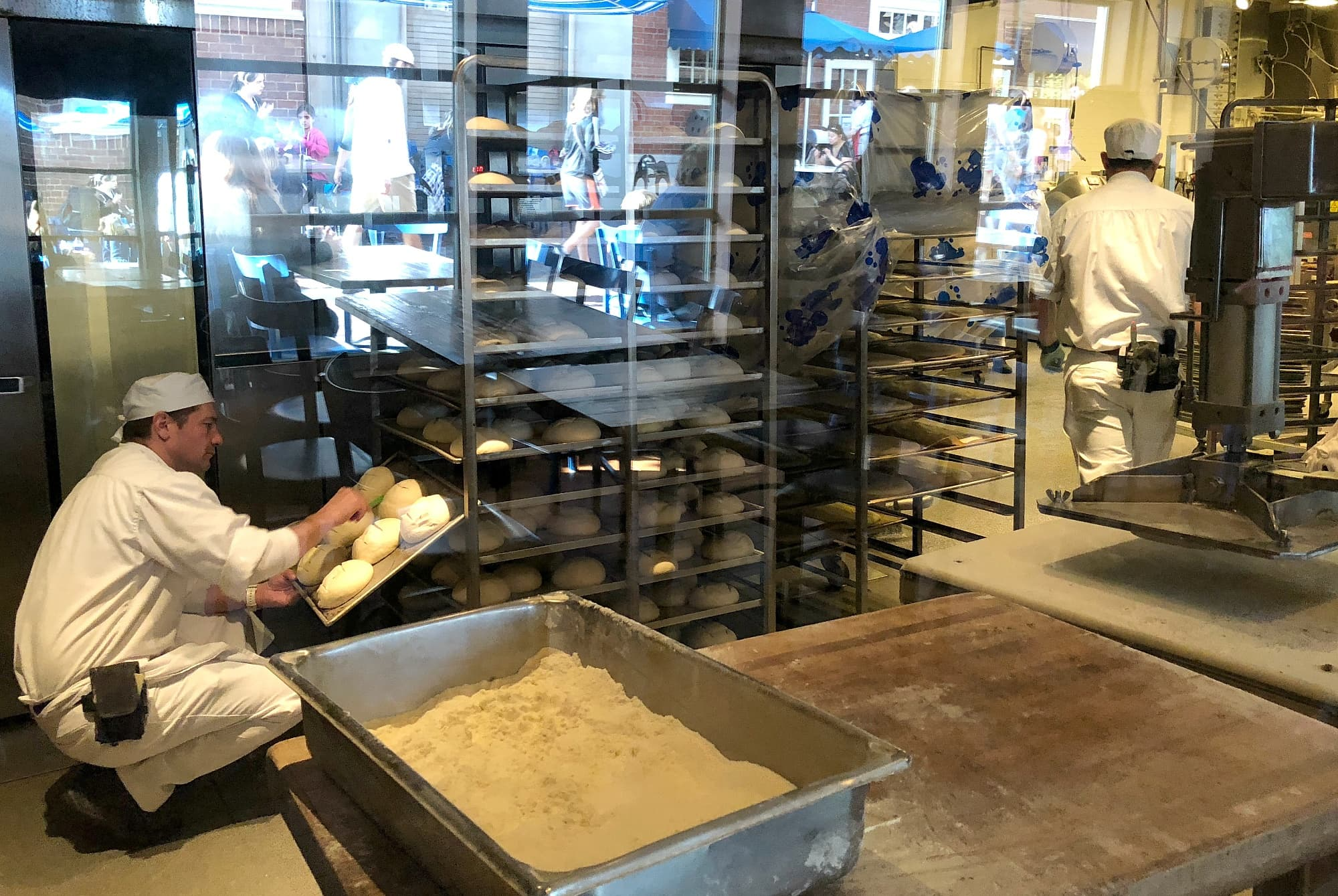 Watch the process of sourdough bread baking at the Boudin Bakery Tour ~ Educational Things to Do at Disneyland with Kids