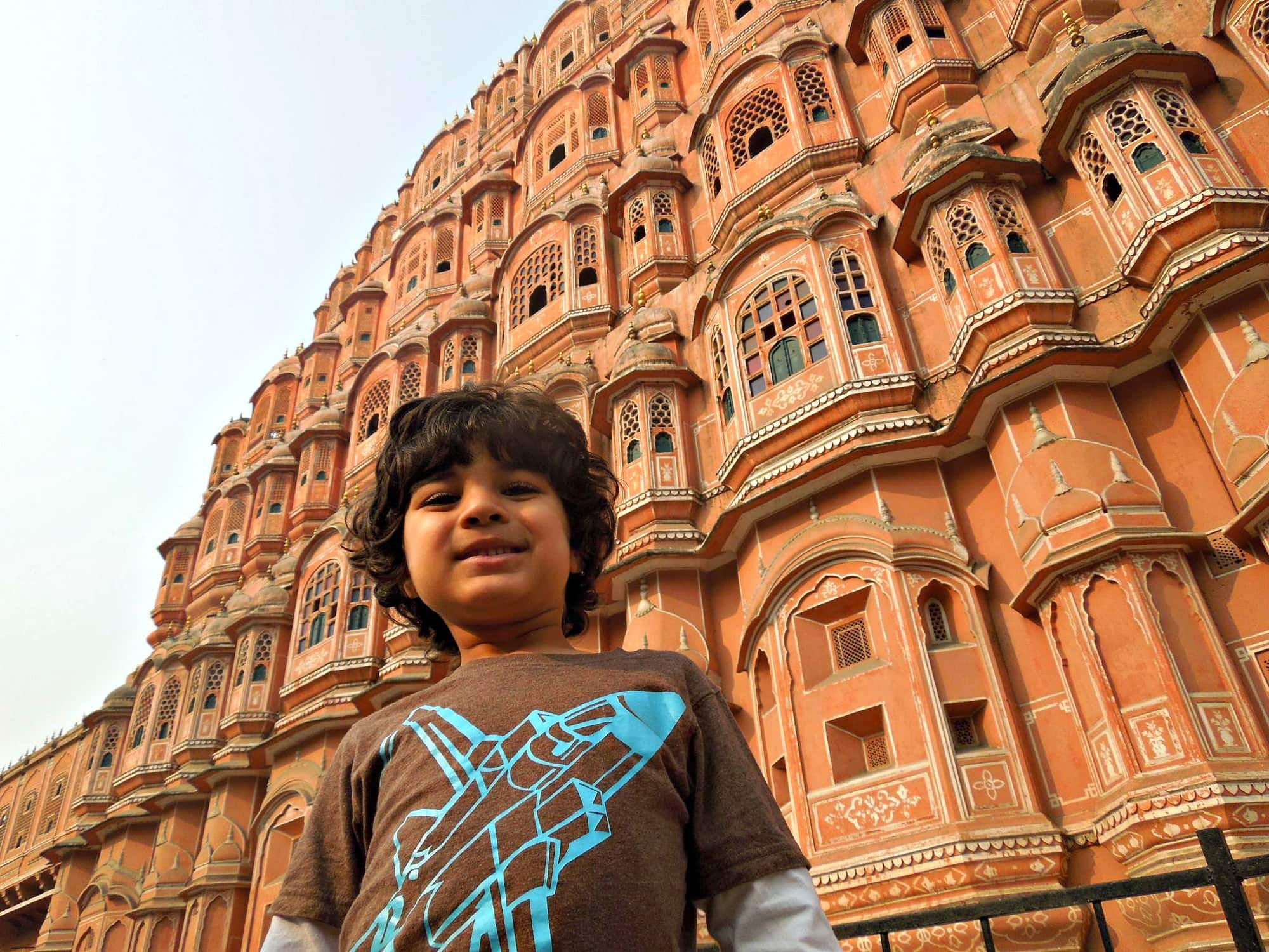 Hawa Mahal (Palace of the Winds) in India with children