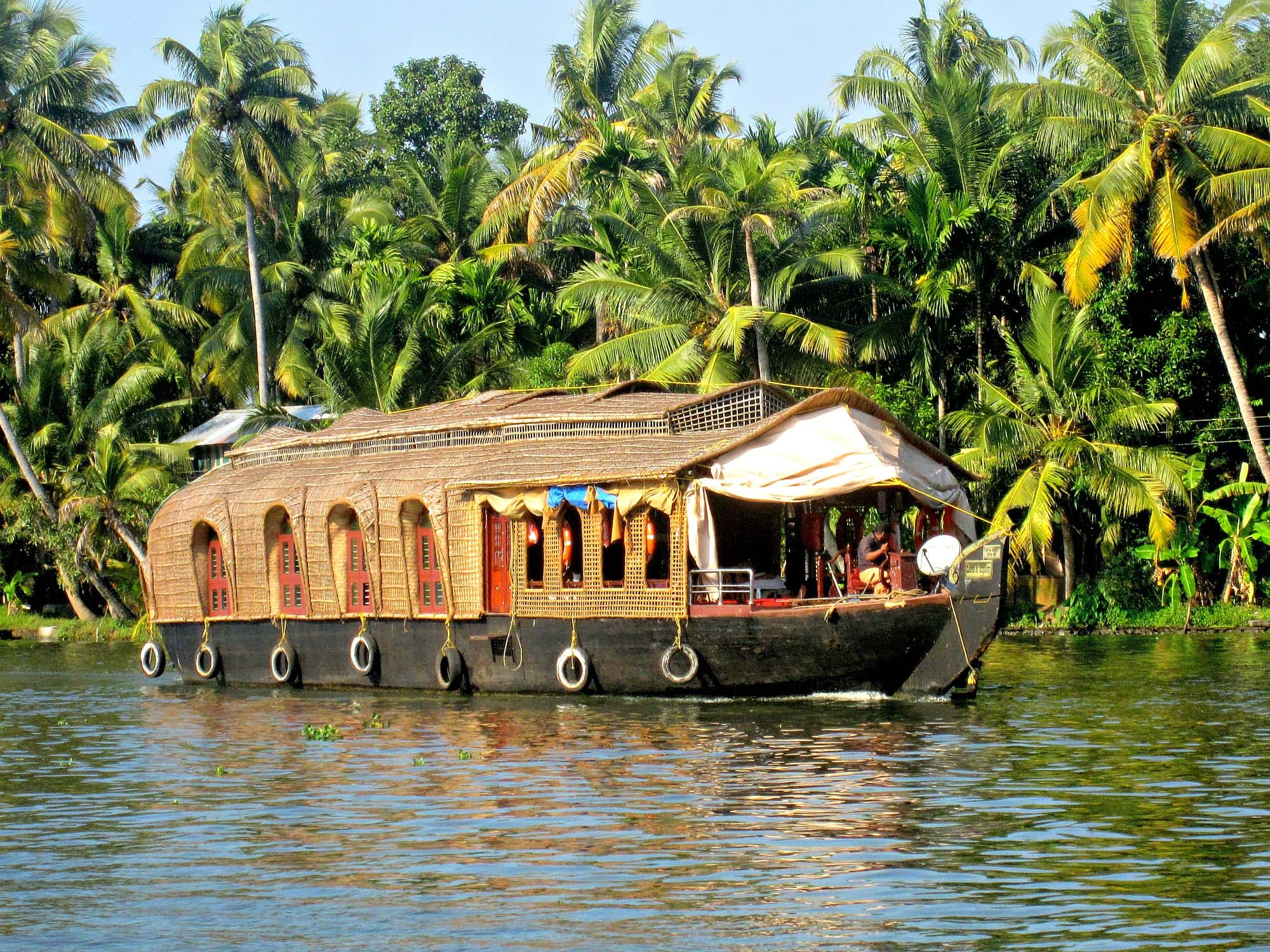 A houseboat in Kerala, India with kids