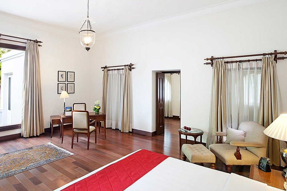 A luxury suite at Maidens Hotel in Delhi provides space for families ~ India with Kids