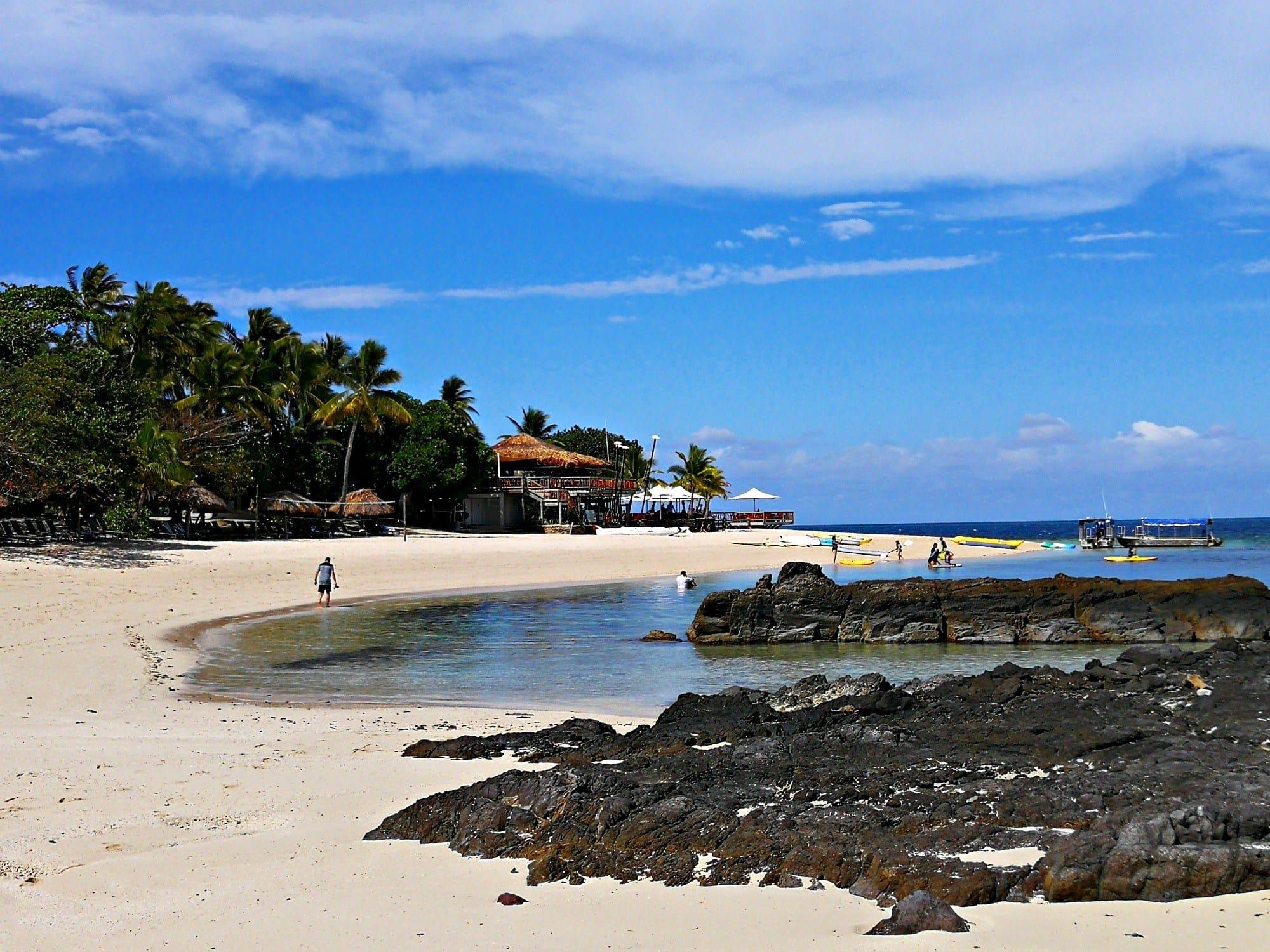 Castaway Island beach in Fiji with kids