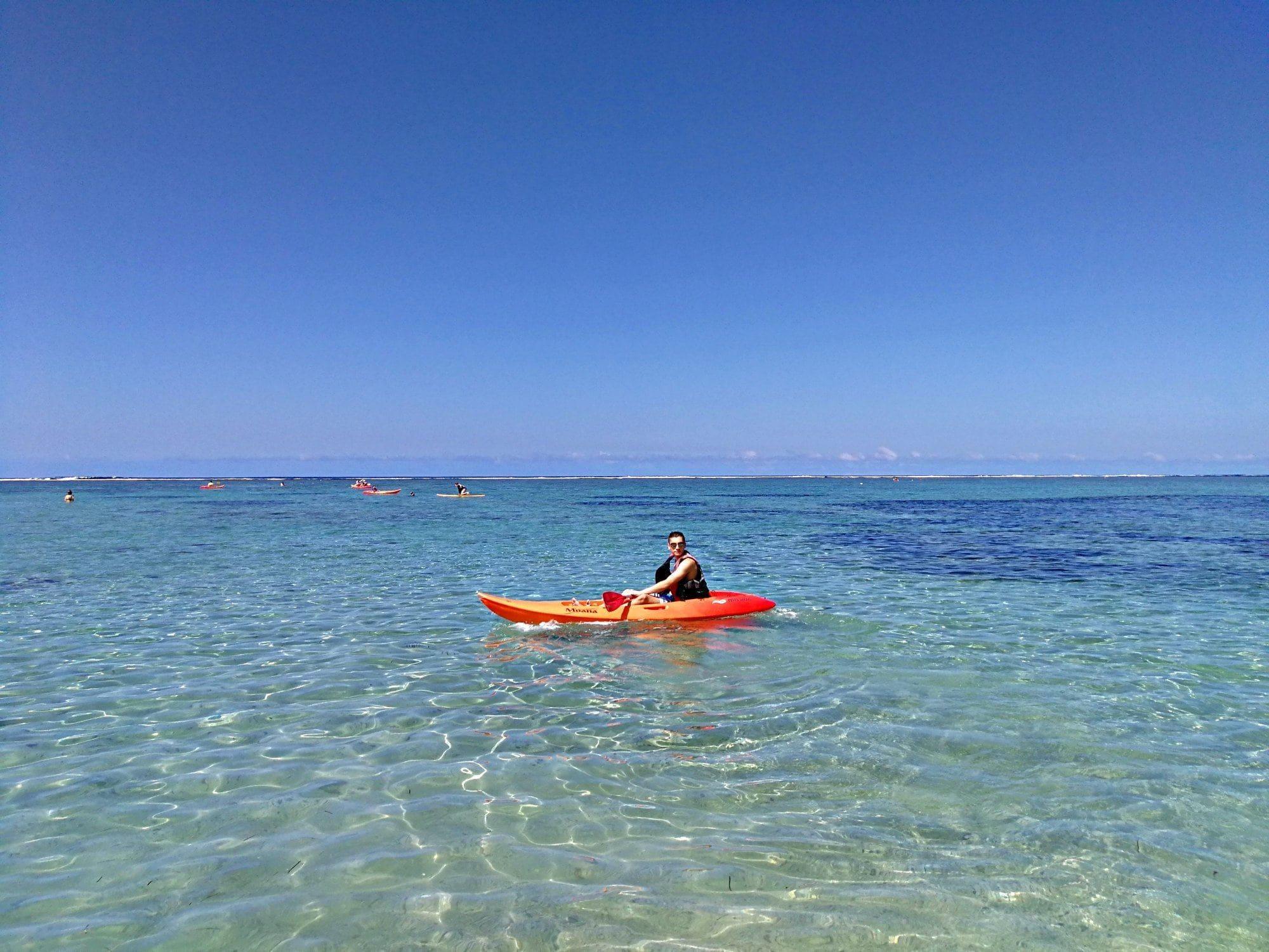 Outrigger Fiji Beach Resort kayaking in Fiji with kids