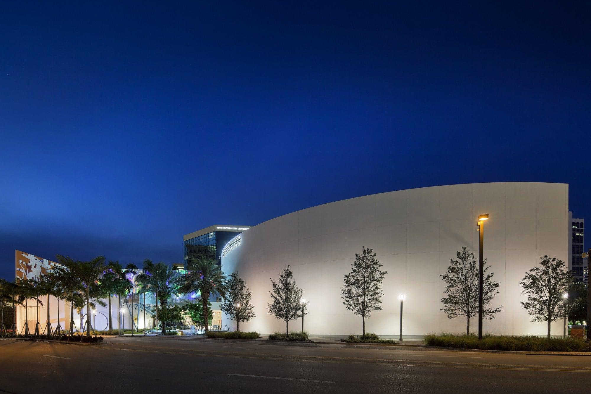 The NSU Art Gallery lit up at night ~ Fort Lauderdale Art Scene
