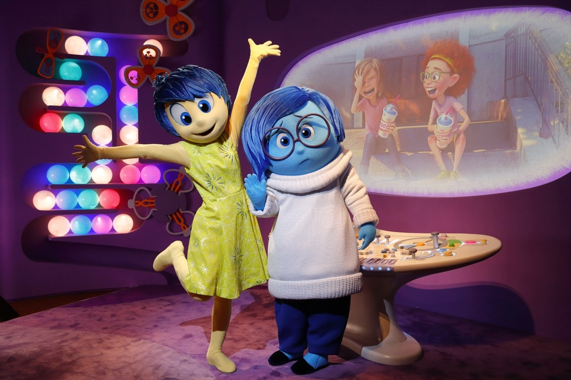 """Visit characters like Joy and Sadness from """"inside Out"""" at the Epcot Character Spot in the heart of Future World"""