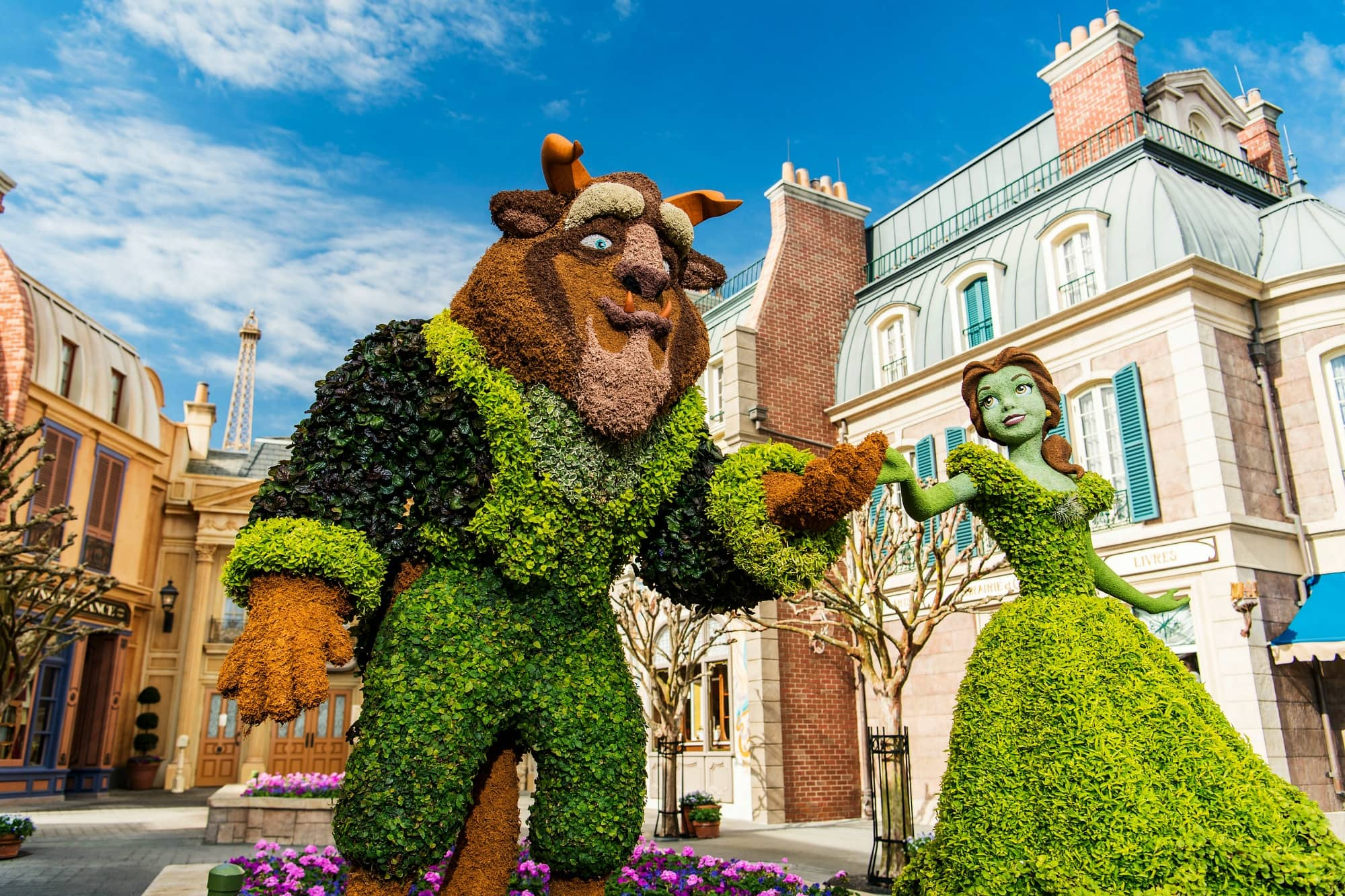Beauty and the Beast topiaries in the France pavilion during the Epcot International Flower & Garden Festival