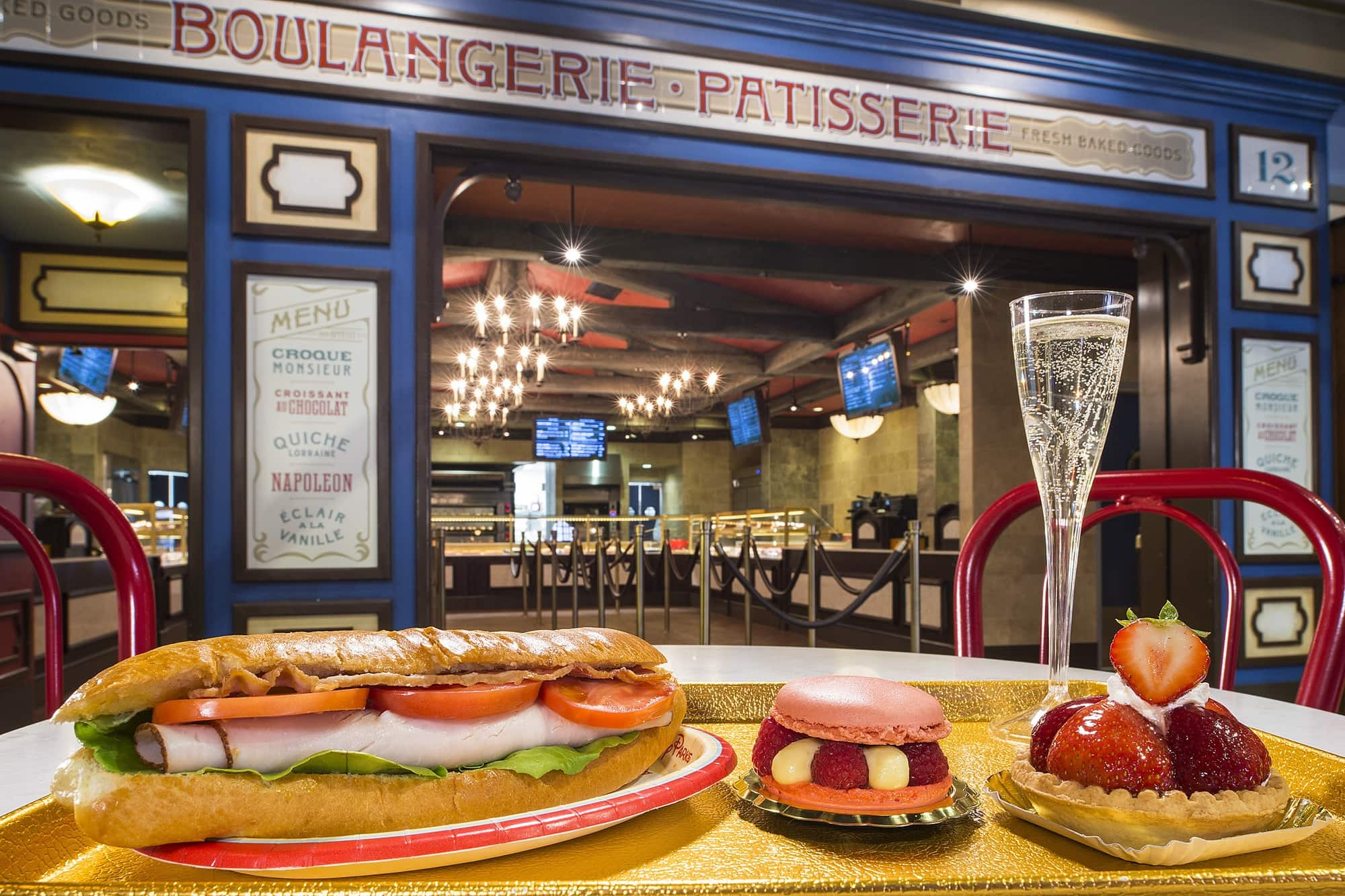 An array of tempting fare in the France pavilion at Epcot with kids