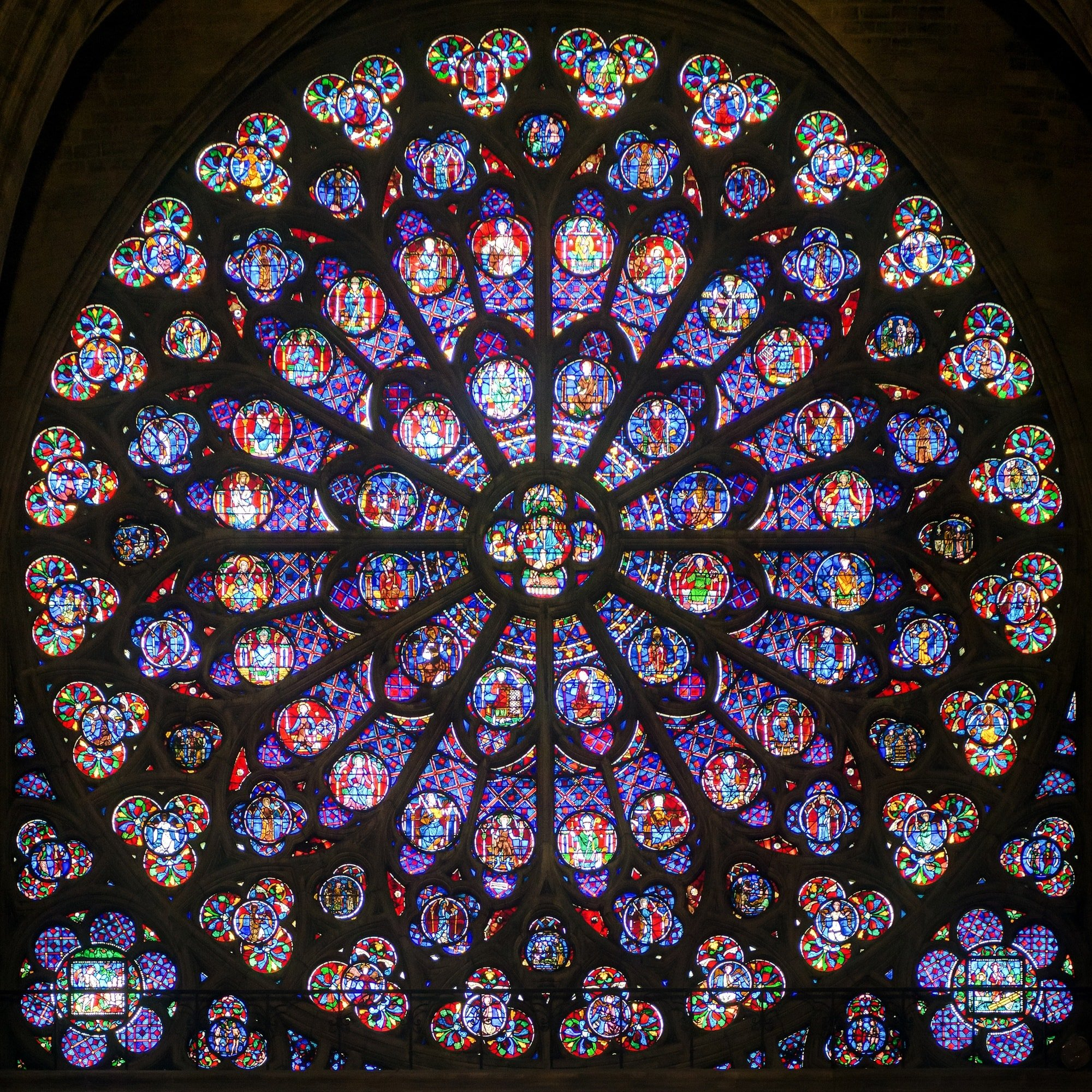 One of Notre-Dame Cathedral's famous rose windows
