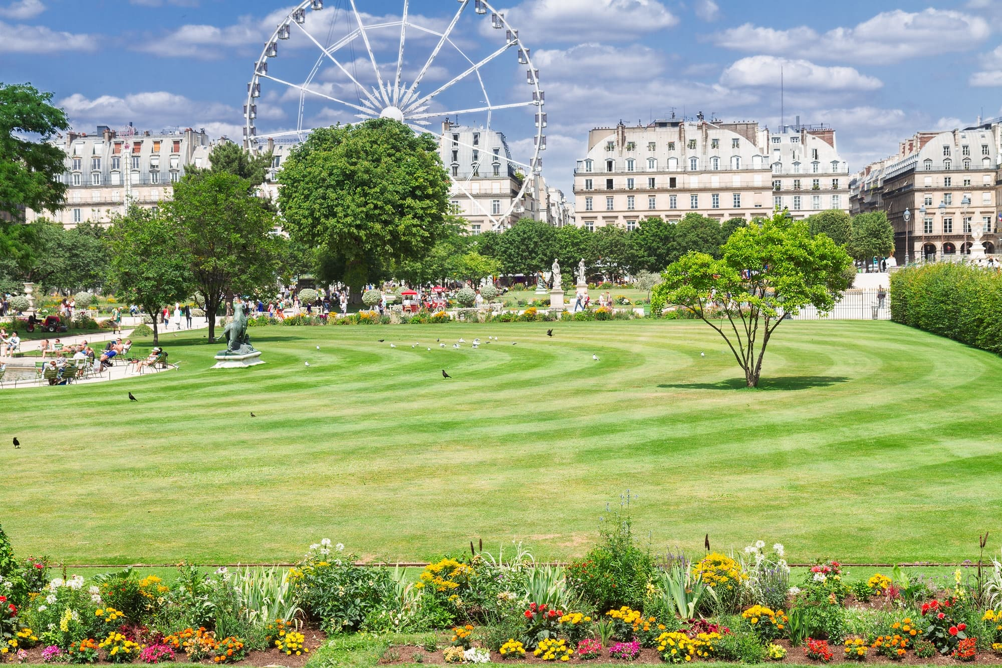Jardin des Tuileries with the Roue de Paris Ferris wheel in the distance