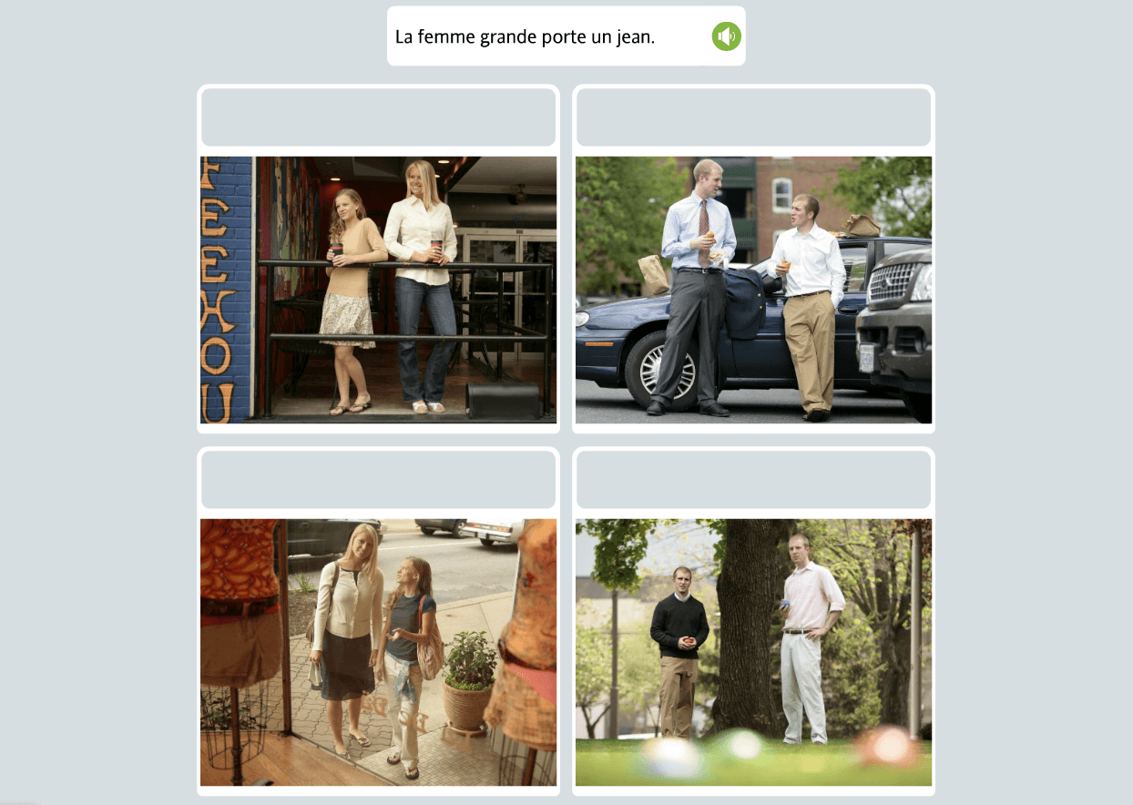Matching the phrase to the photo is easy and fun with Rosetta Stone