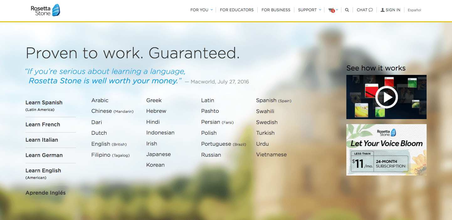 Rosetta Stone language options