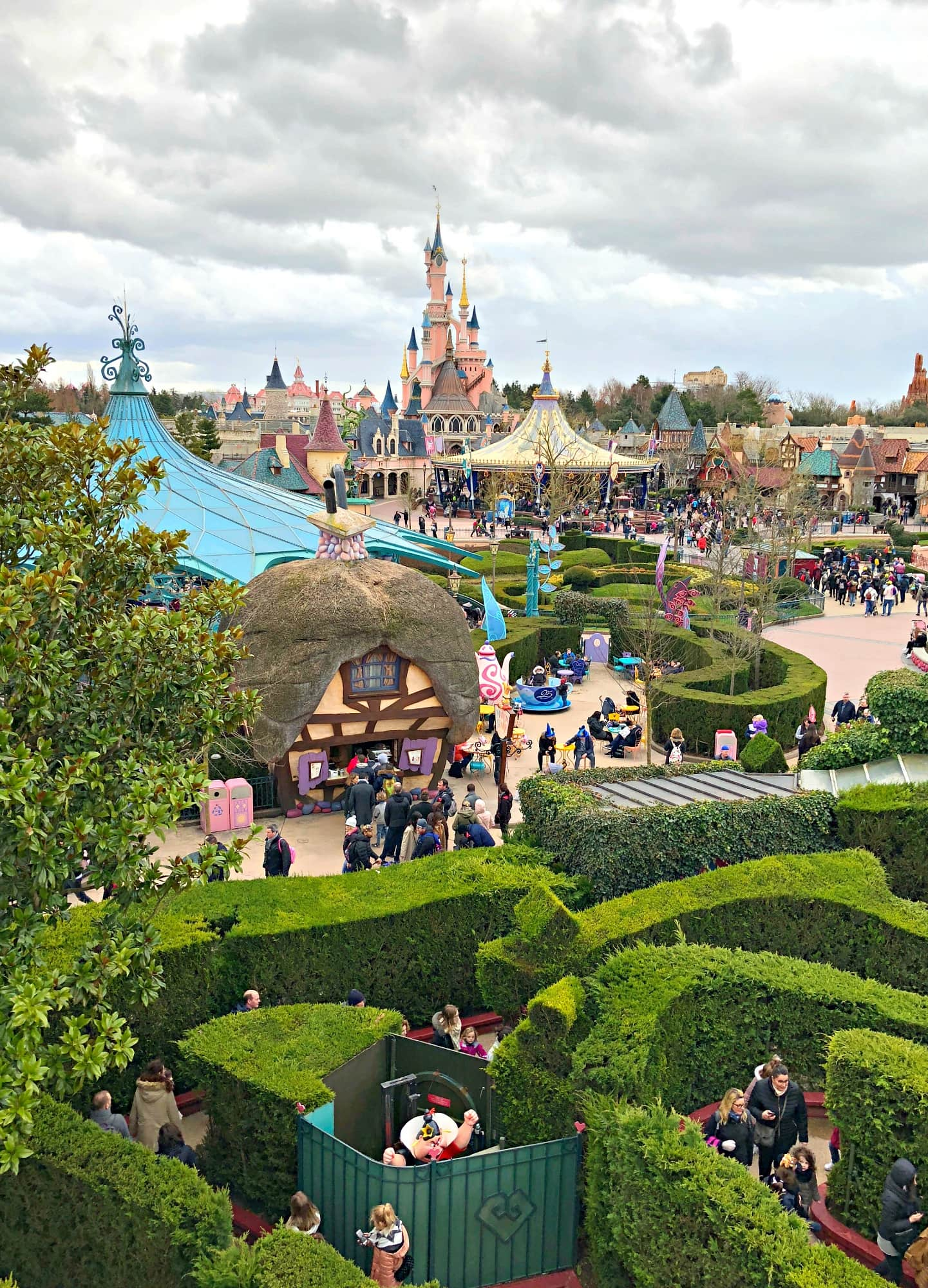 View of Disneyland Paris from Alice's Curious Labyrinth ~ Disneyland Paris with Kids