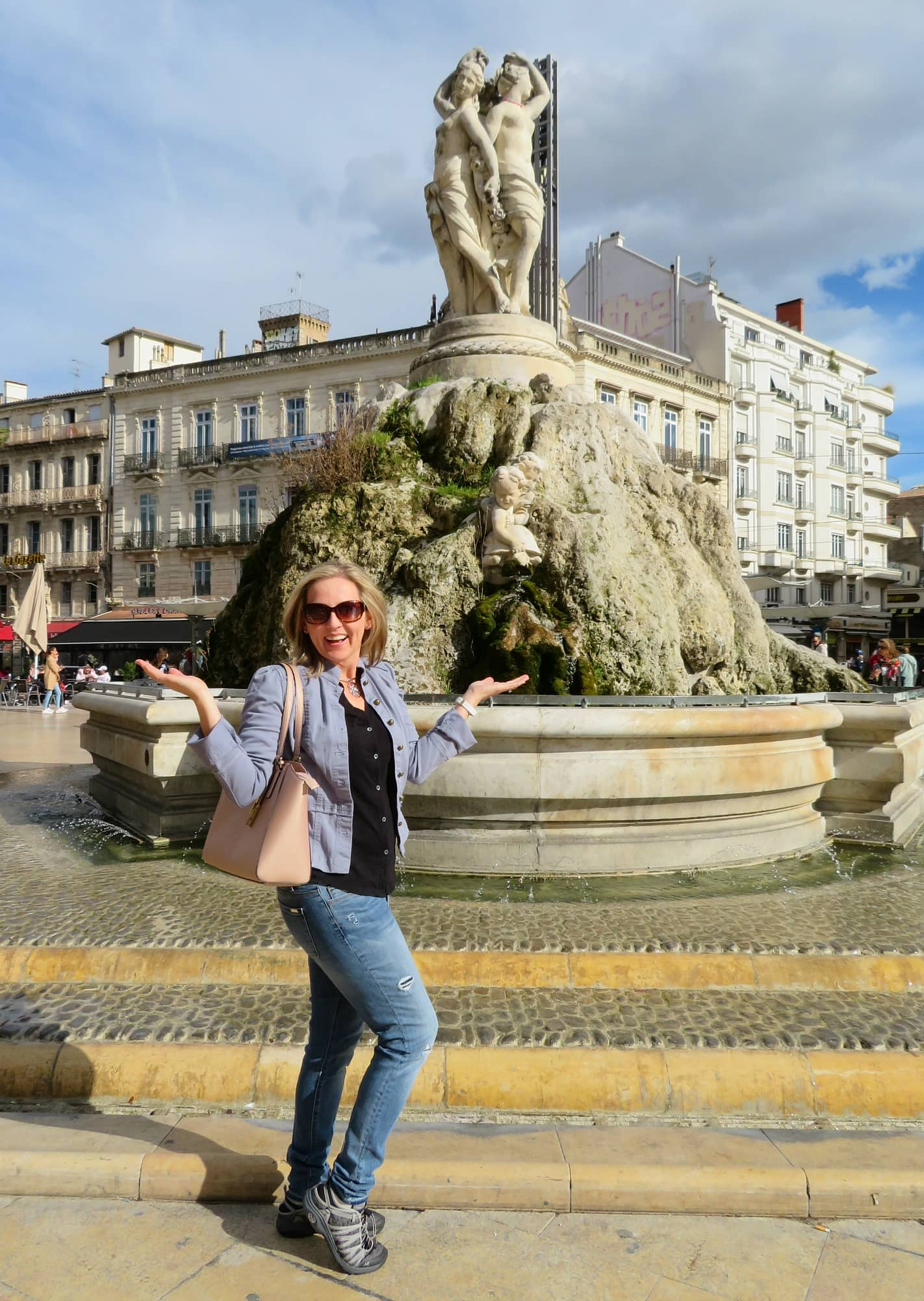 Les Trois Graces fountain in Montpellier, France