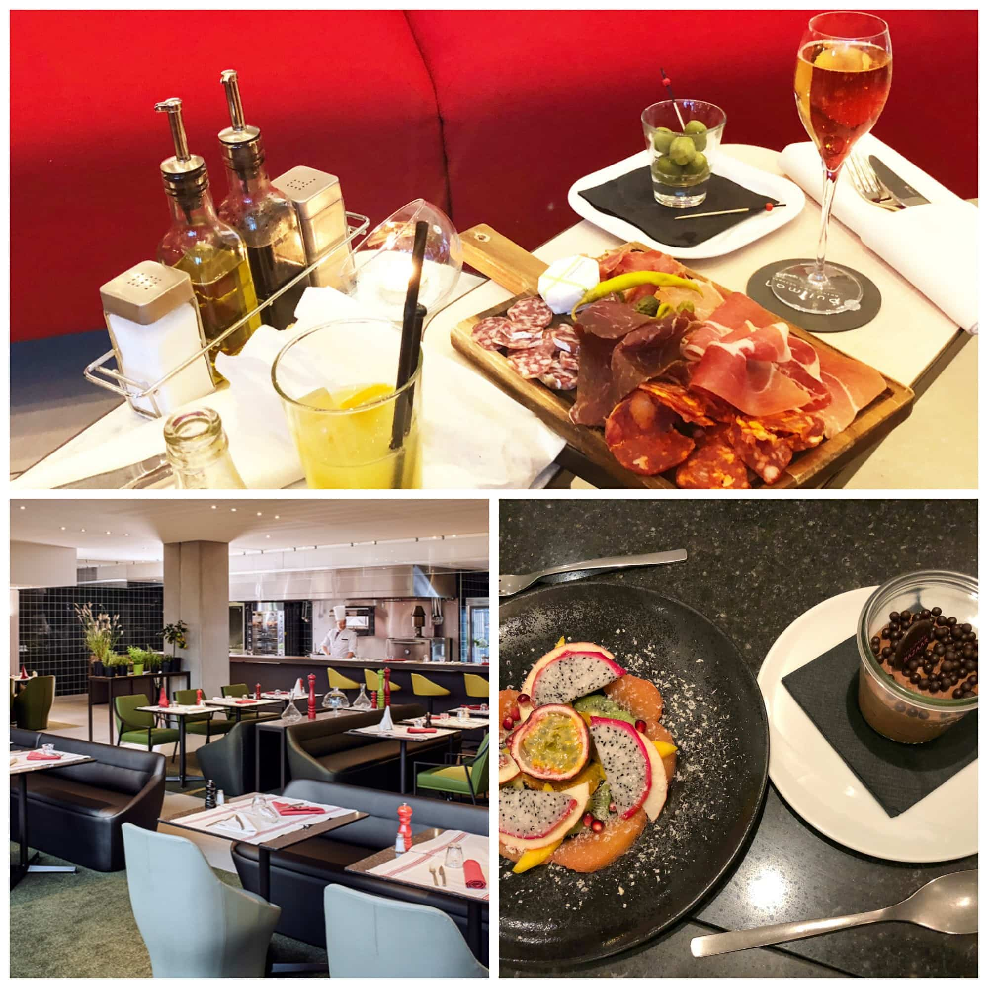 Charcuterie and drinks with kids in the lobby bar; Culinaire Bazaar; Children's desserts at the restaurant at Pullman Charles de Gaulle with kids