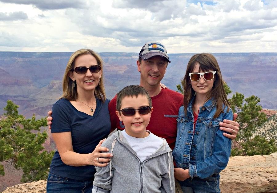 family photo at the Grand Canyon South Rim