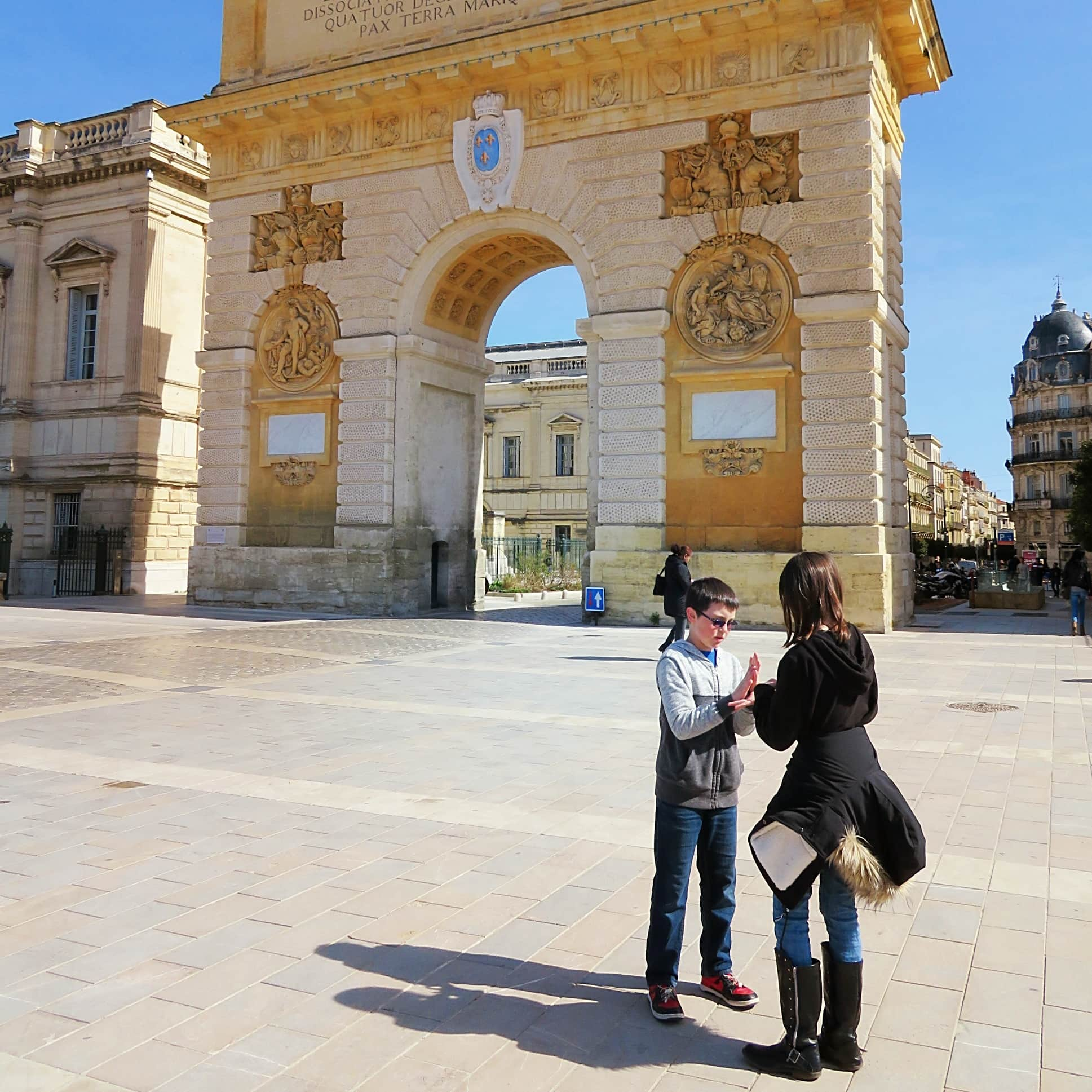 Montpellier's Porte du Peyrou with kids