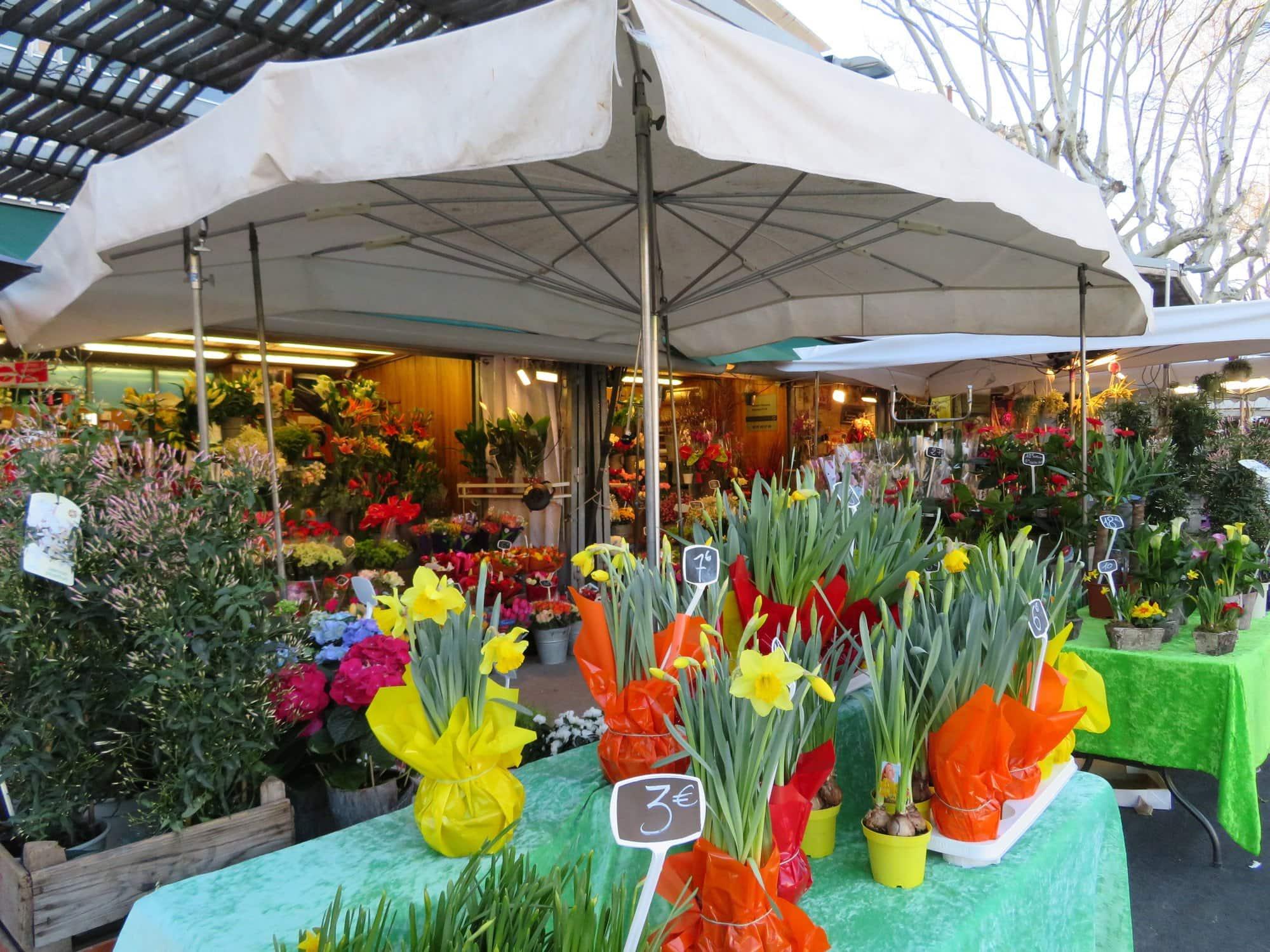 Flower market on Esplanade Charles de Gaulle in Montpellier, France