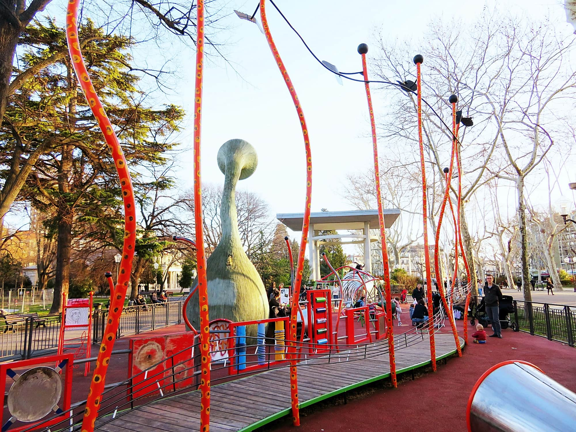 Jardin Champs de Mars is a playground with a Dr. Seuss-like feel in Montpellier, France