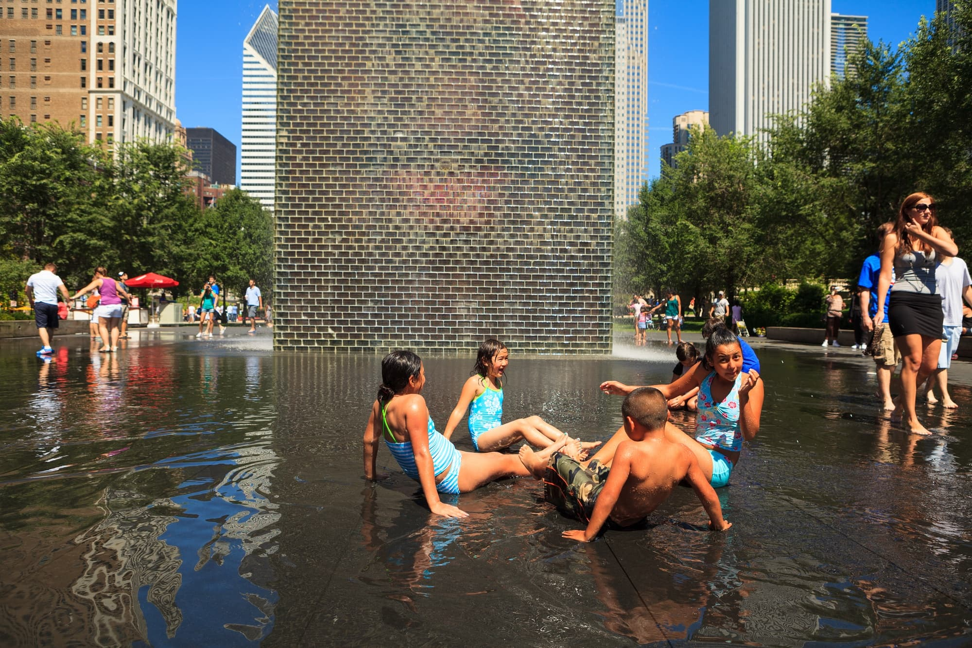 Children love the Crown Fountain in Millennium Park