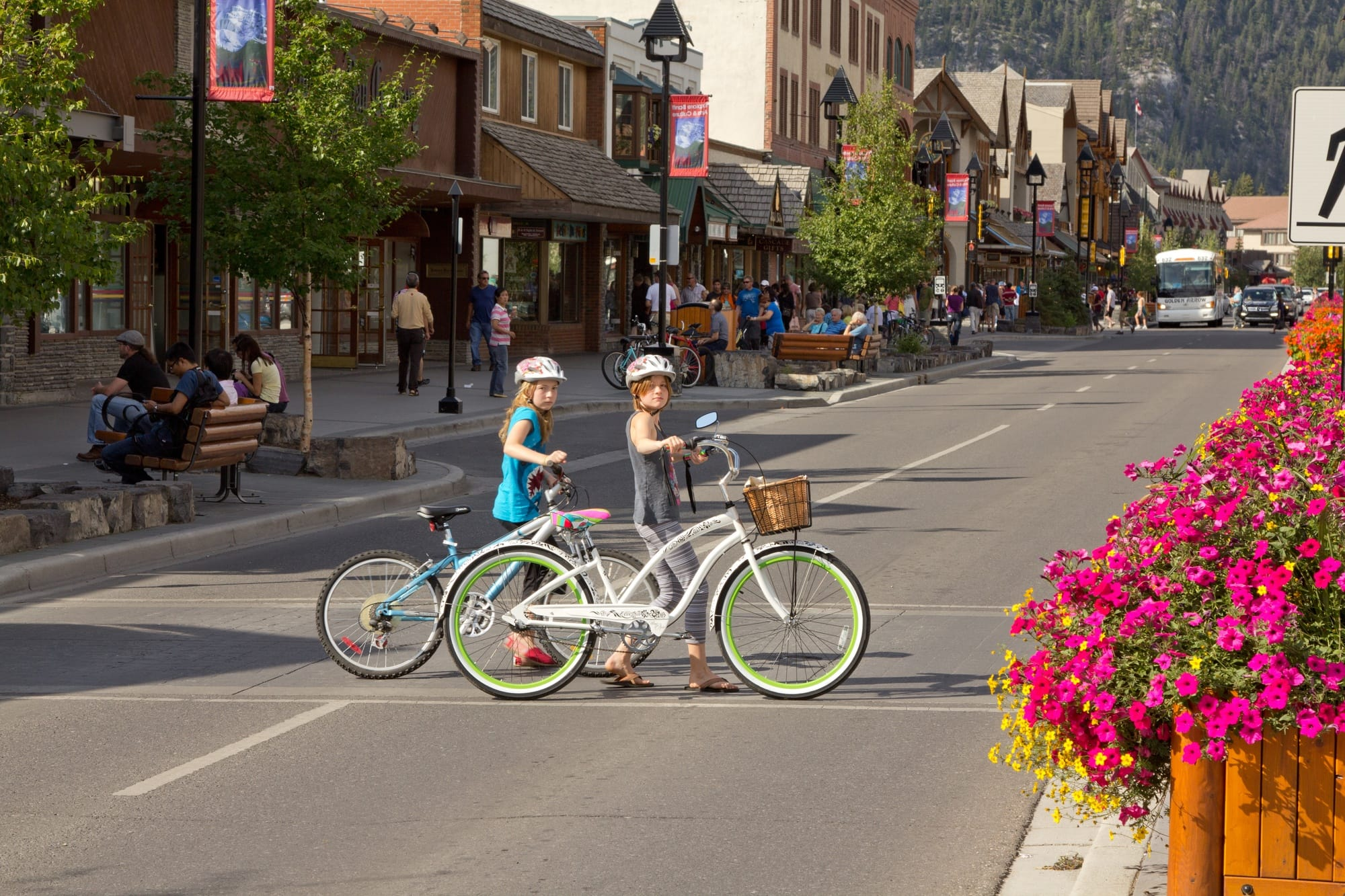 Explore Banff with kids in summer by bike
