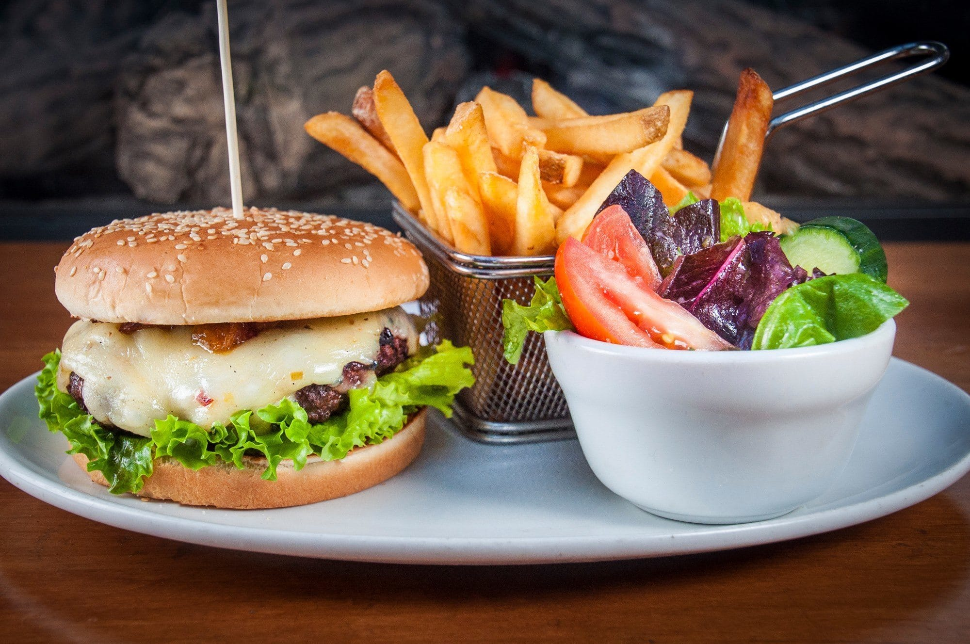 Try the bison burger at the Elk & Oarsman!