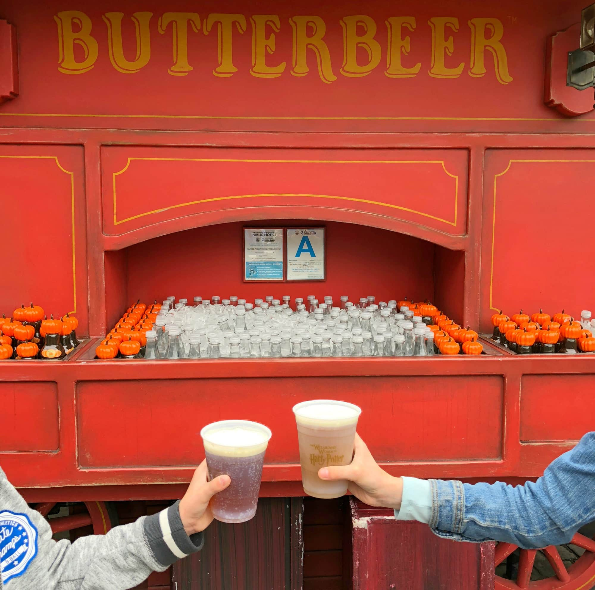 Buy Butterbeer cold and bubbly or frozen from carts in The Wizarding World of Harry Potter