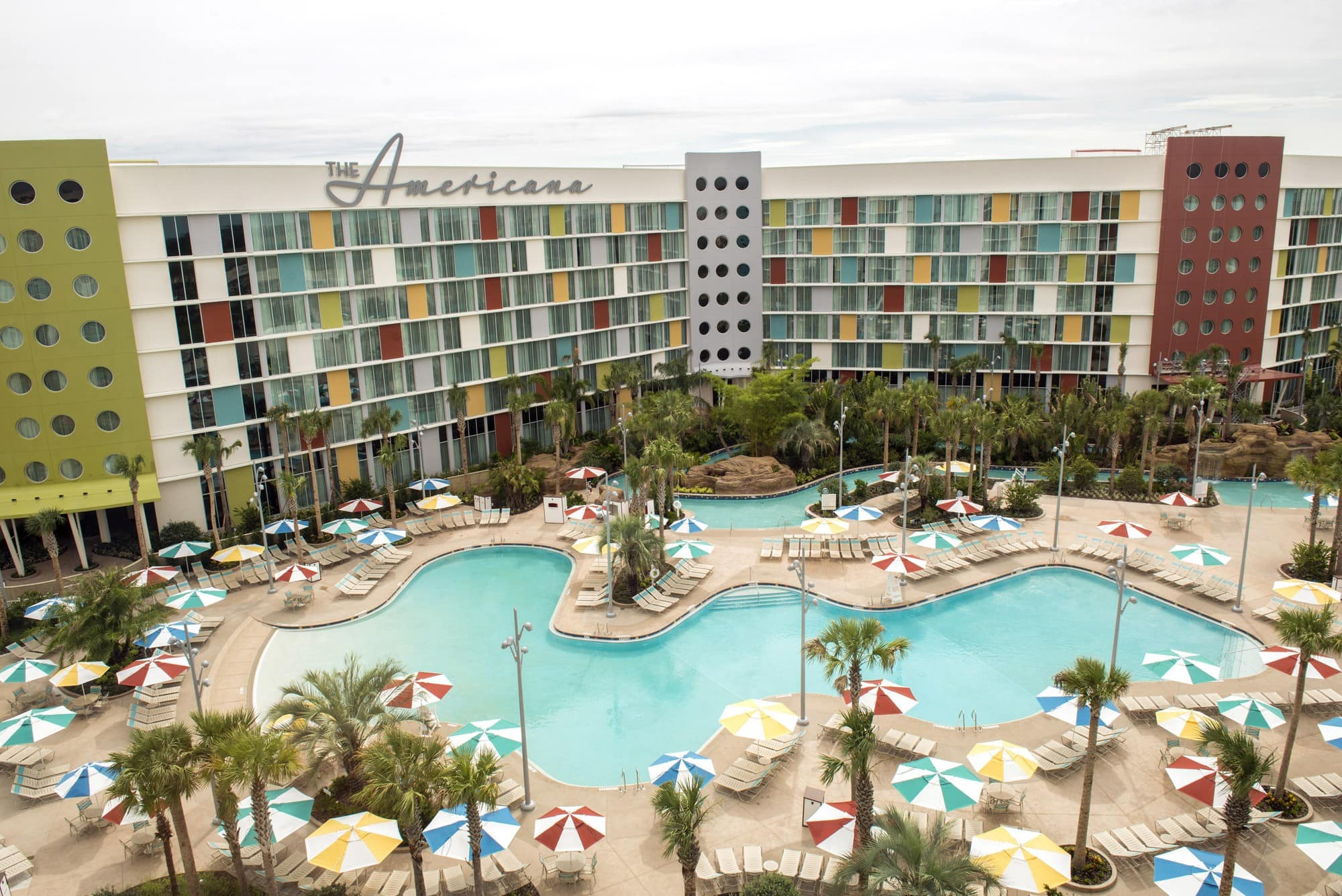 Float into the past at the retro Cabana Bay Beach Resort