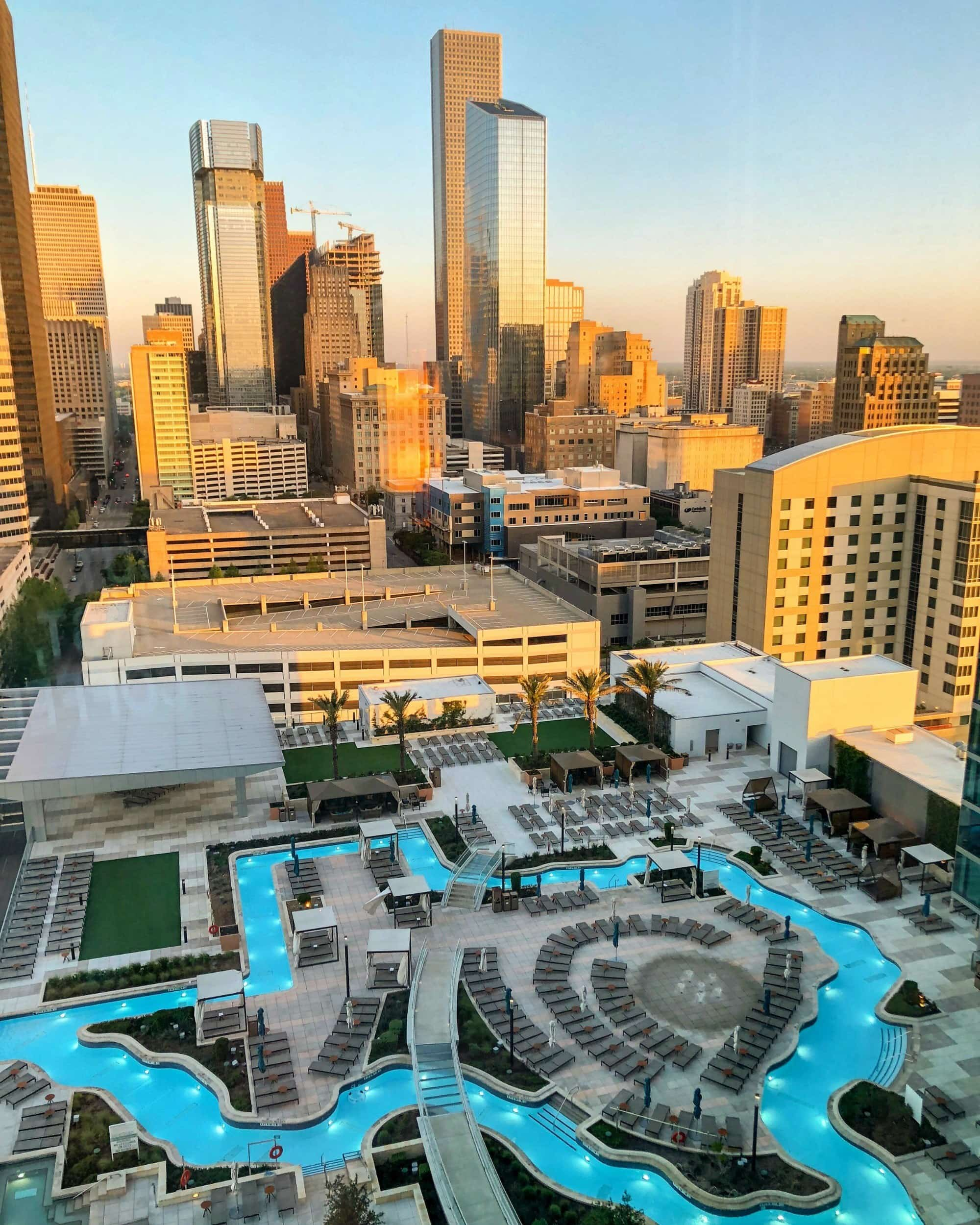 Texas-shaped lazy river at Marriott Marquis Houston ~ Best Hotel Lazy Rivers