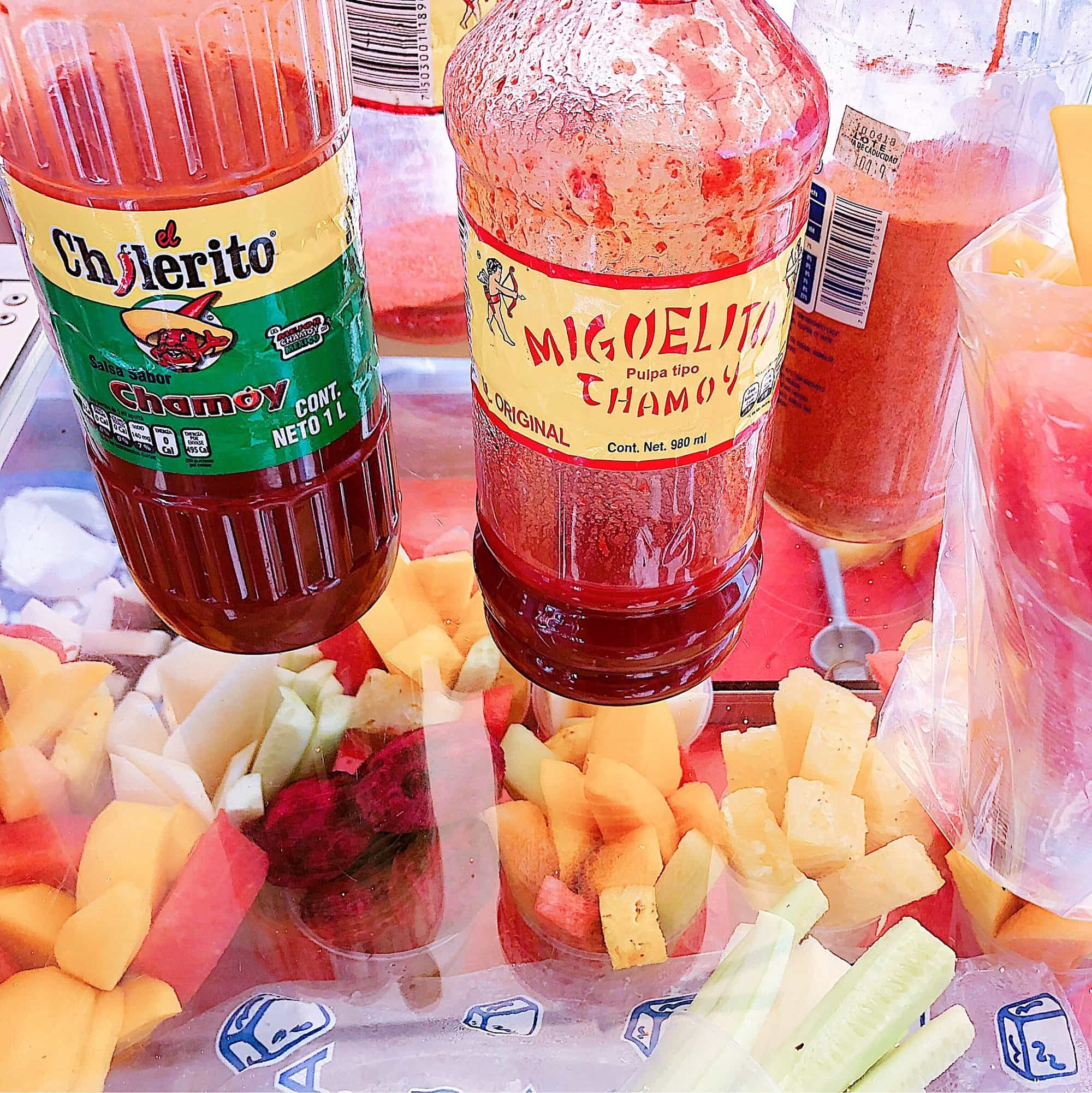 Purchase peeled fruits as a snack - hot sauce optional! ~ Where to Eat in San Miguel de Allende with Kids