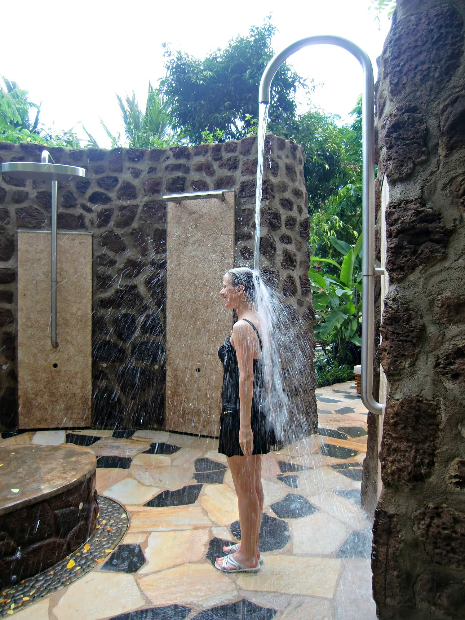 A rain shower in Kula Wai Hydrotherapy Garden at Laniwai Spa