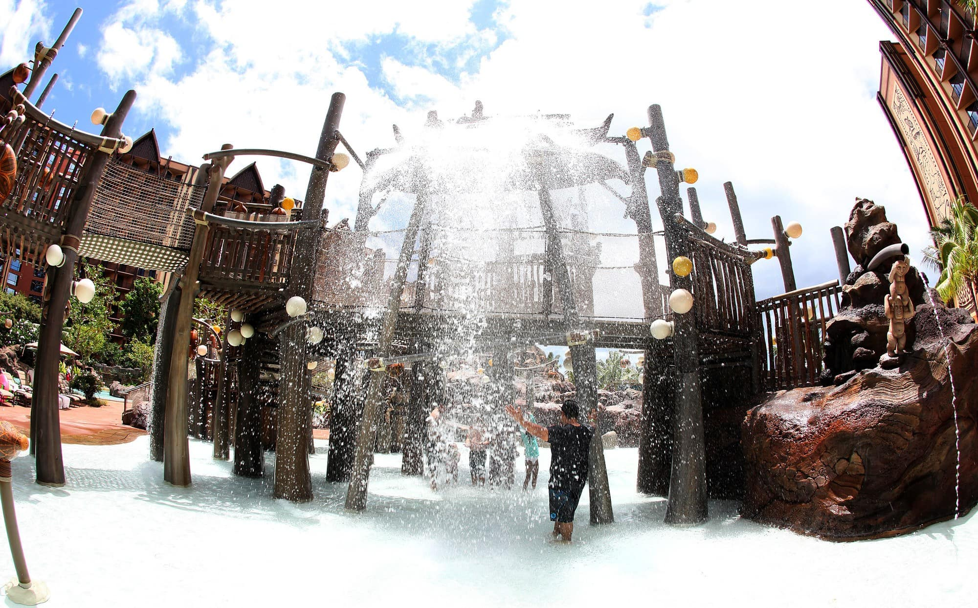 Menehune Bridge is a joyous water play structure at Disney Aulani